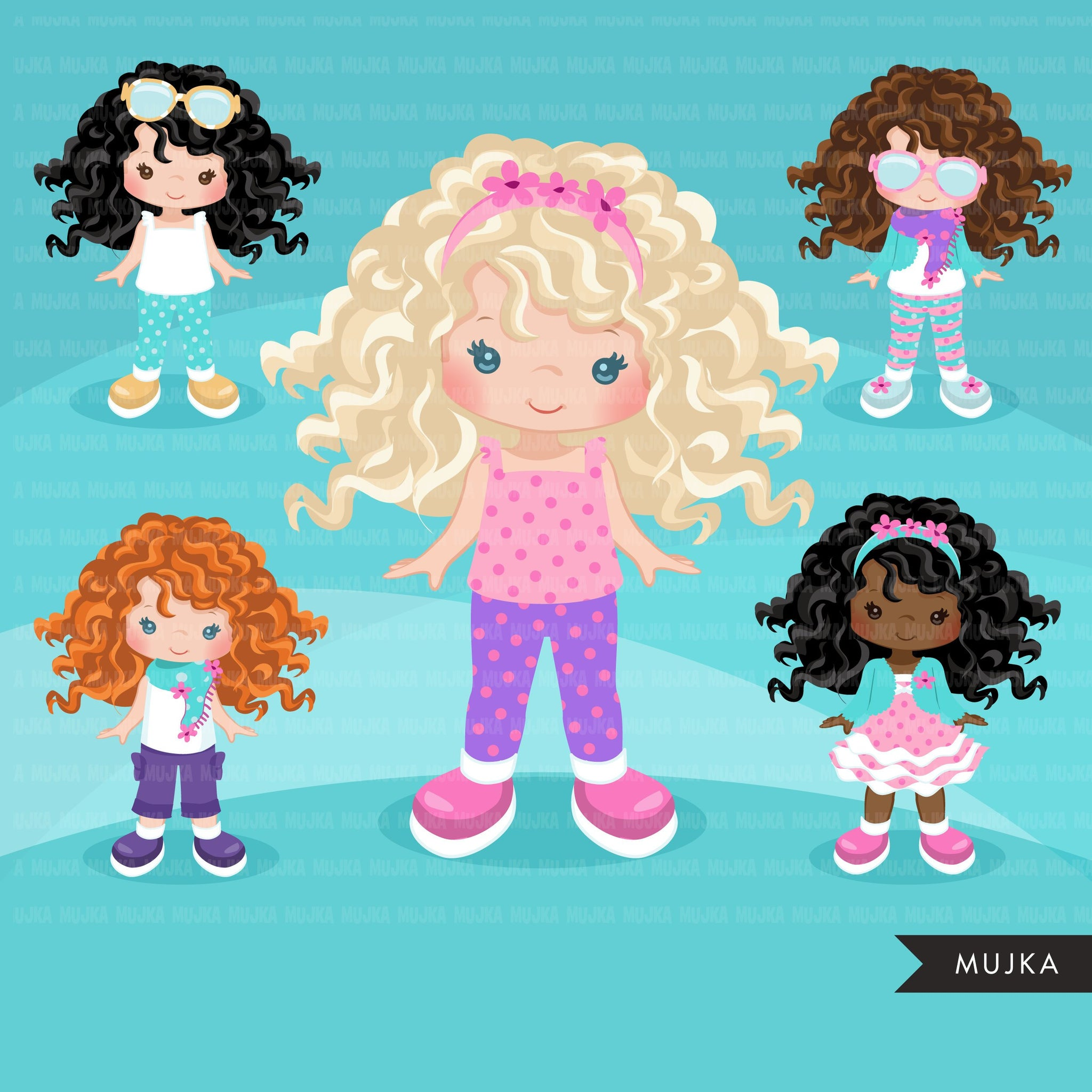 Paper doll clipart. Little Girl Dressing Party