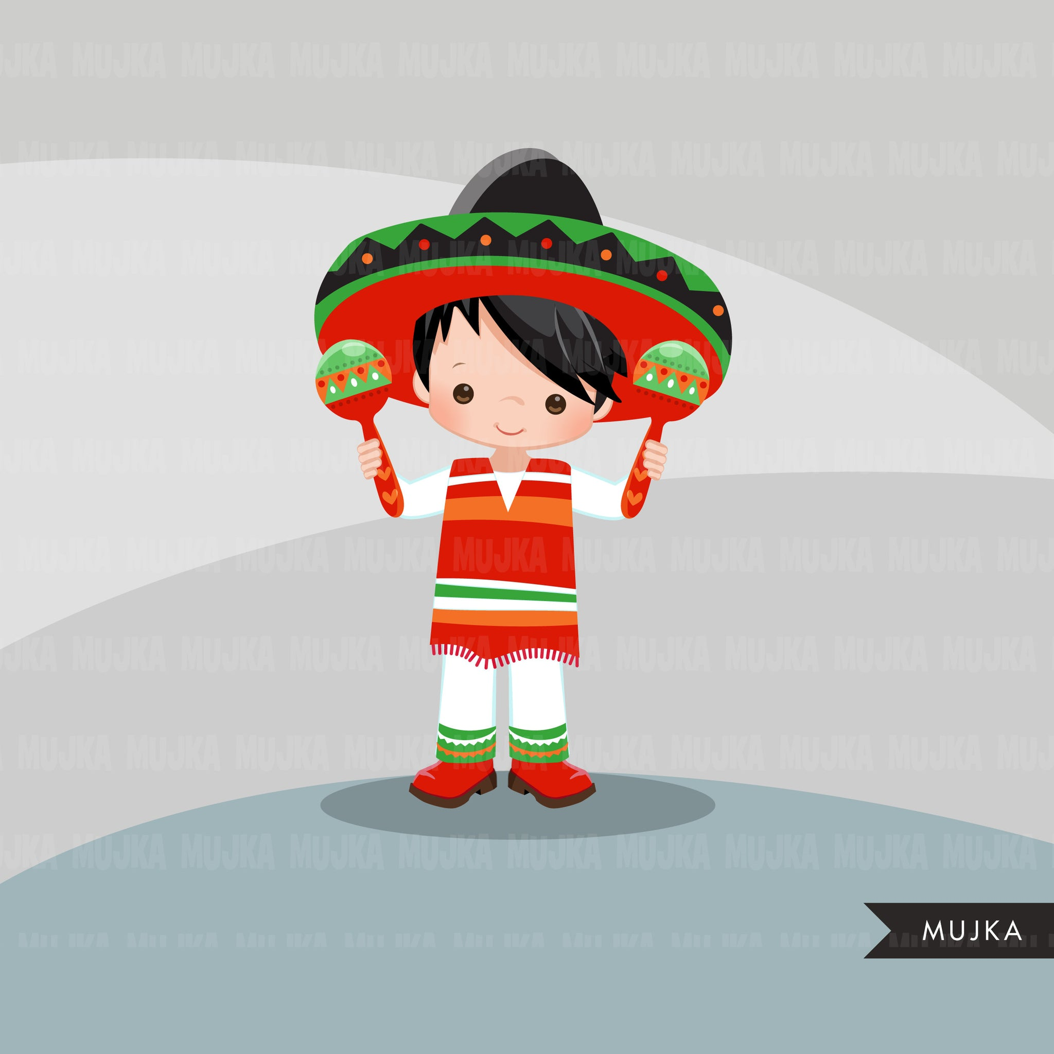 Cinco de Mayo clipart, folk colorful boy musicians