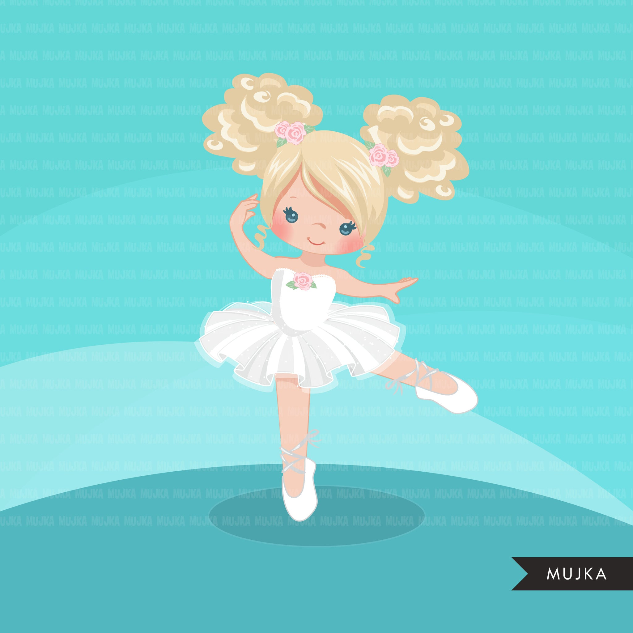 Ballerina clipart, chic ballet girl characters