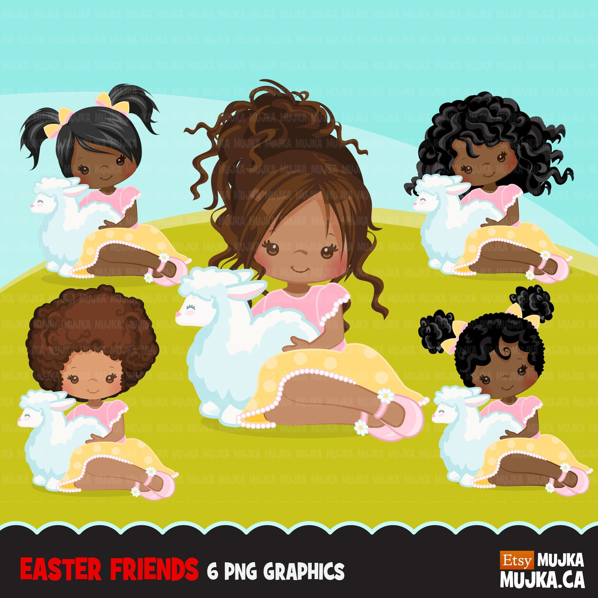 Easter black girl with lamb Clipart
