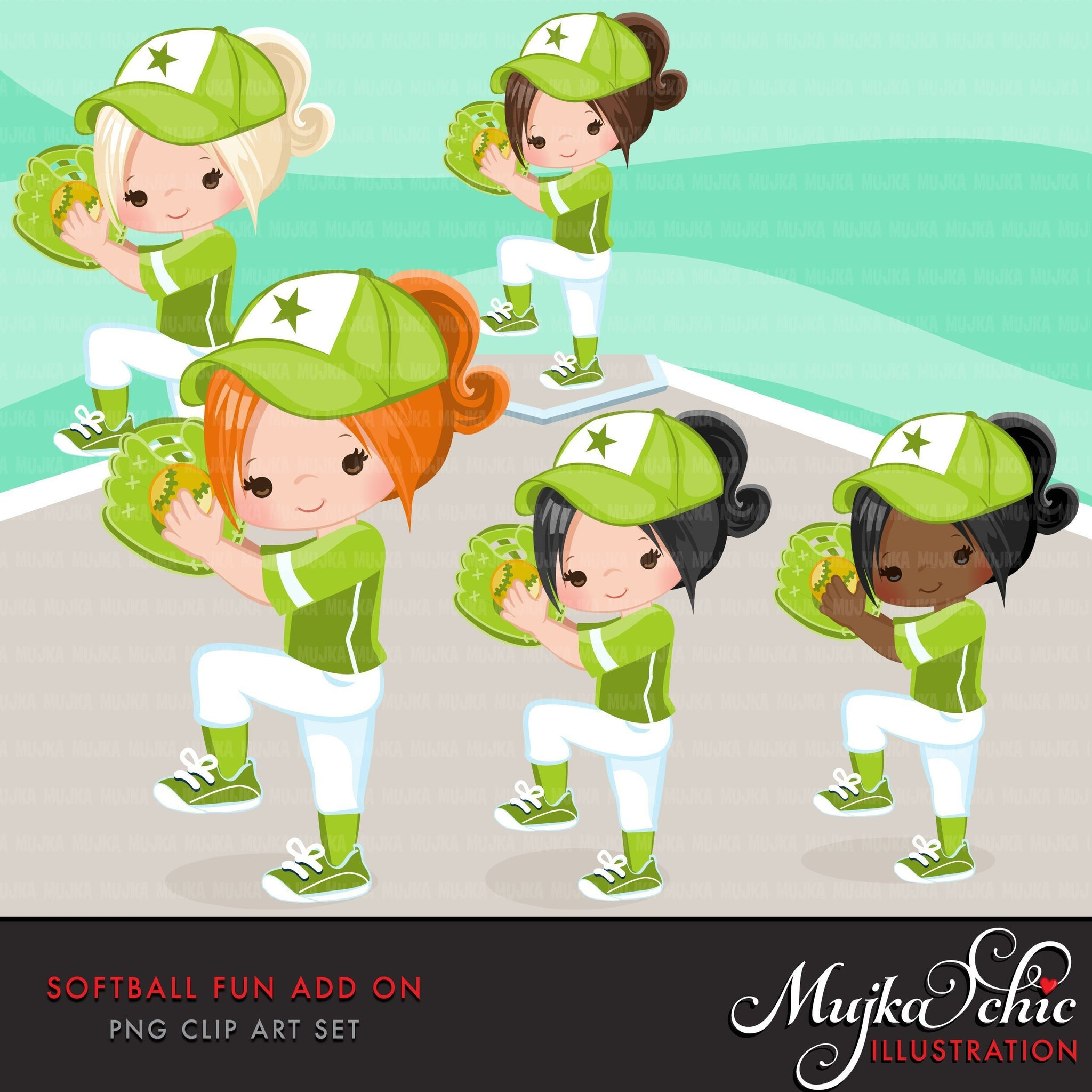 Softball Clipart ADD ON, girl in green jersey