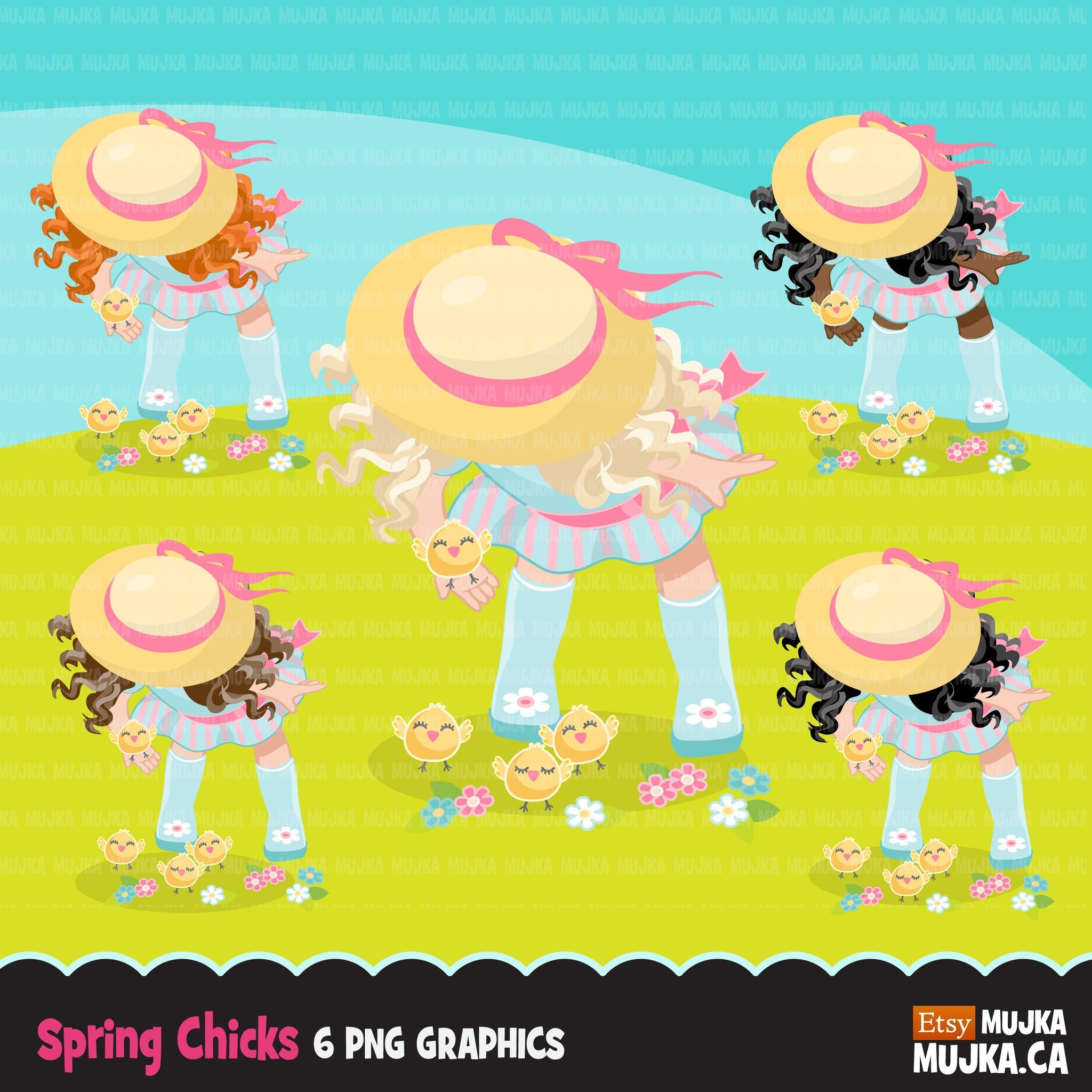 Easter Spring girl with chicks Clipart