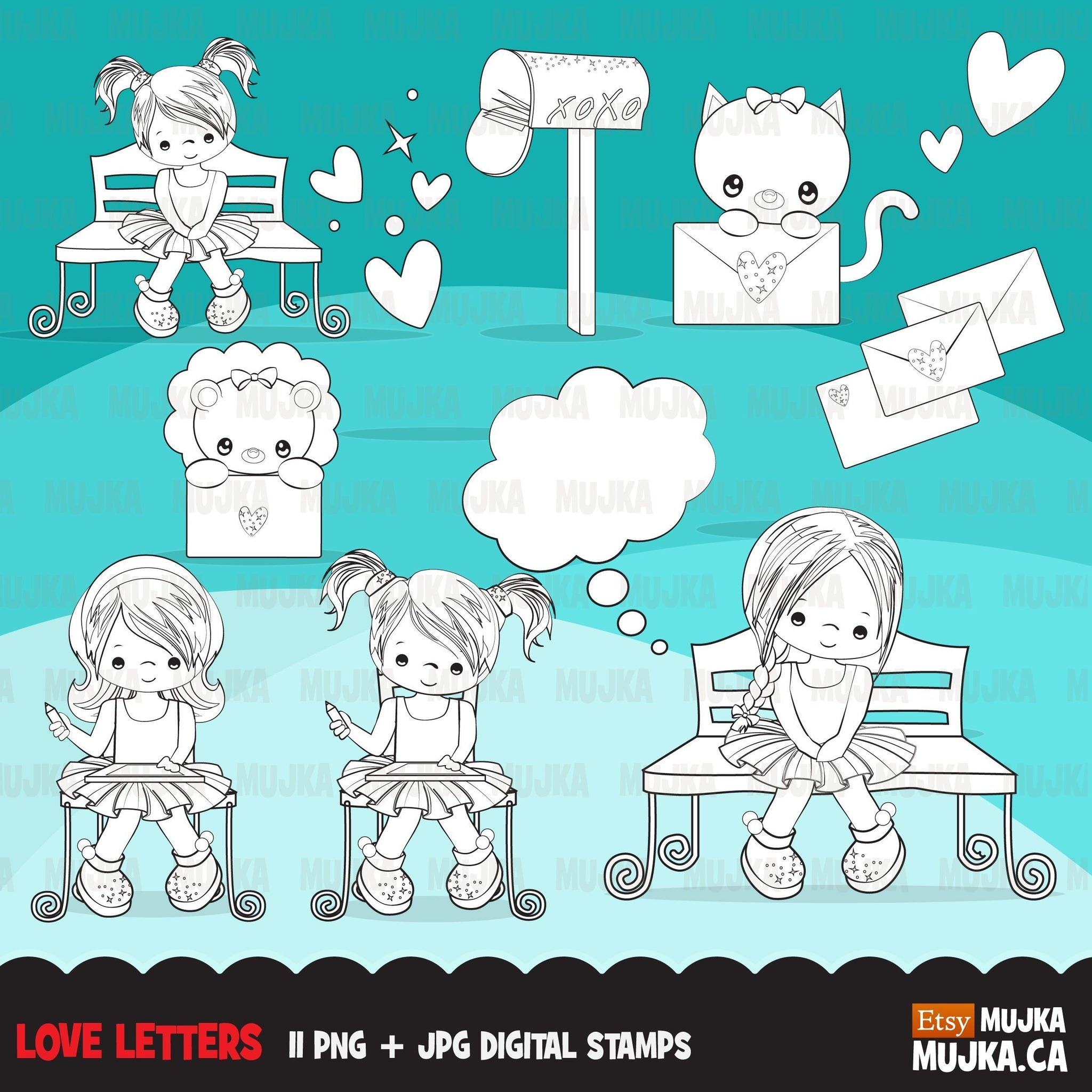 Valentine's Day Digital Stamps, girl boy love letter