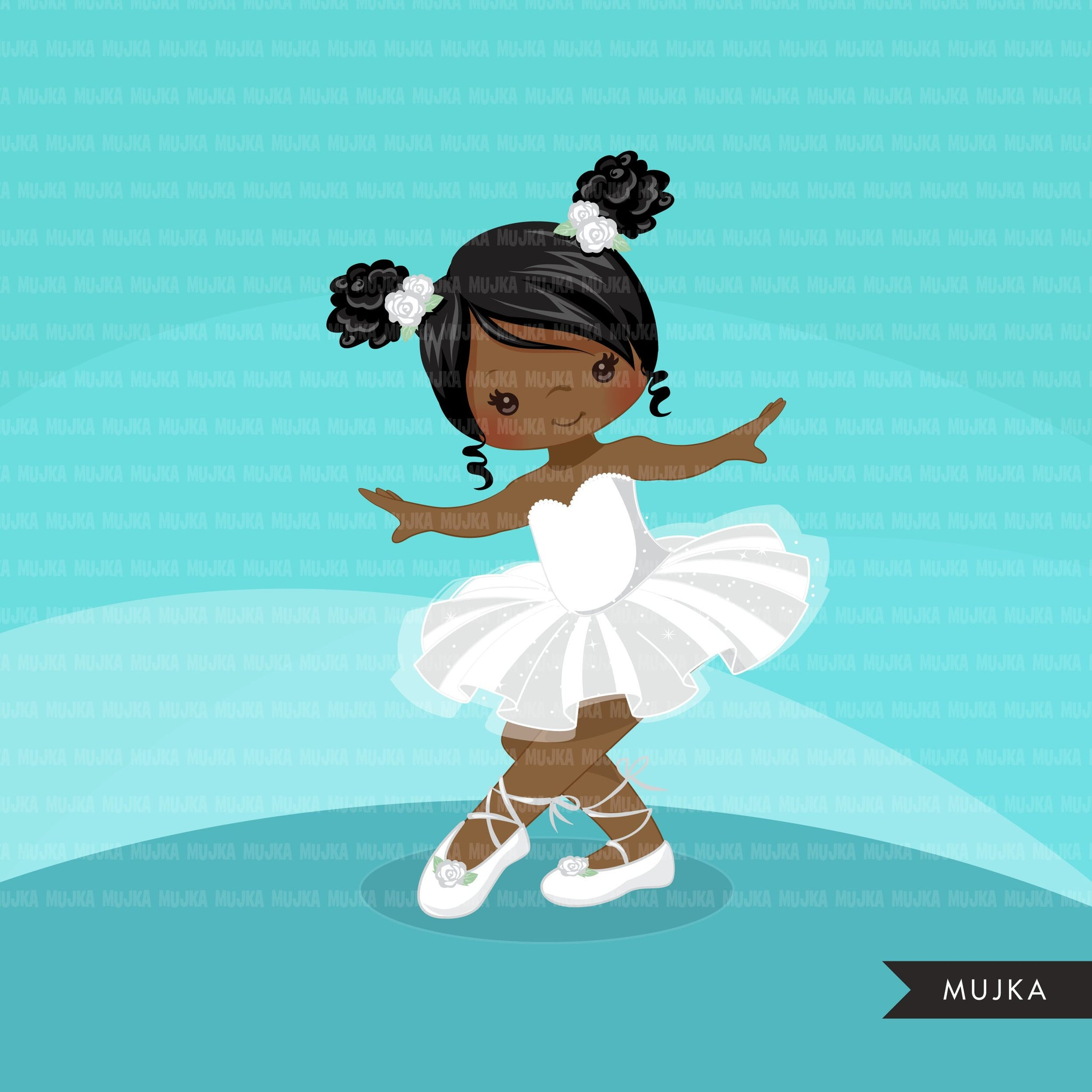 Ballerina clipart with white tutu and afro pufs