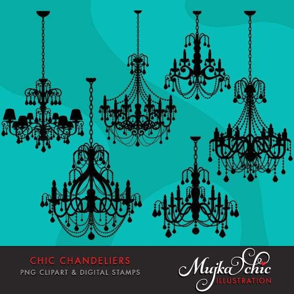 Chic Chandeliers Clipart & Digital Stamps.