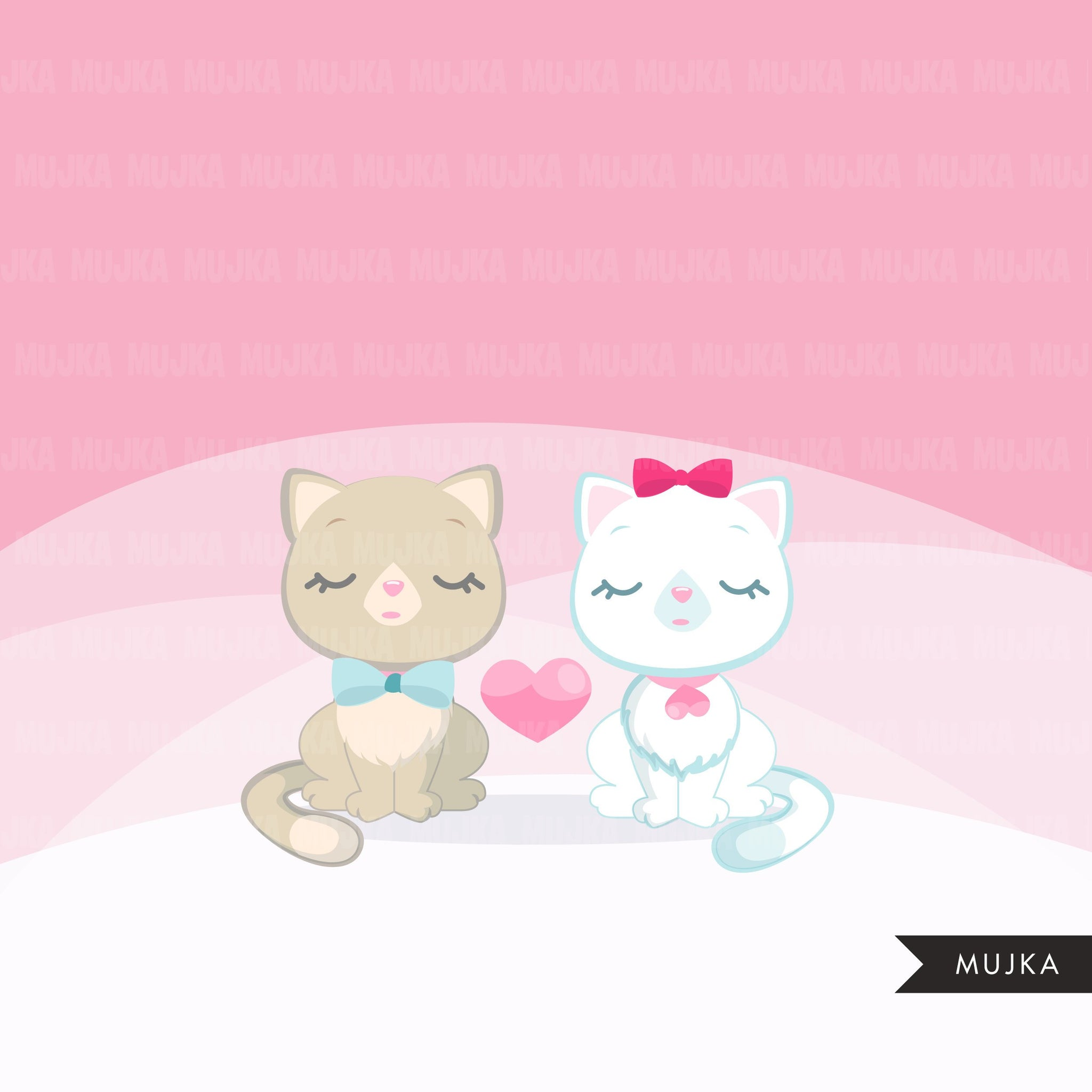 Kitten clipart, animal graphic on valentine's day