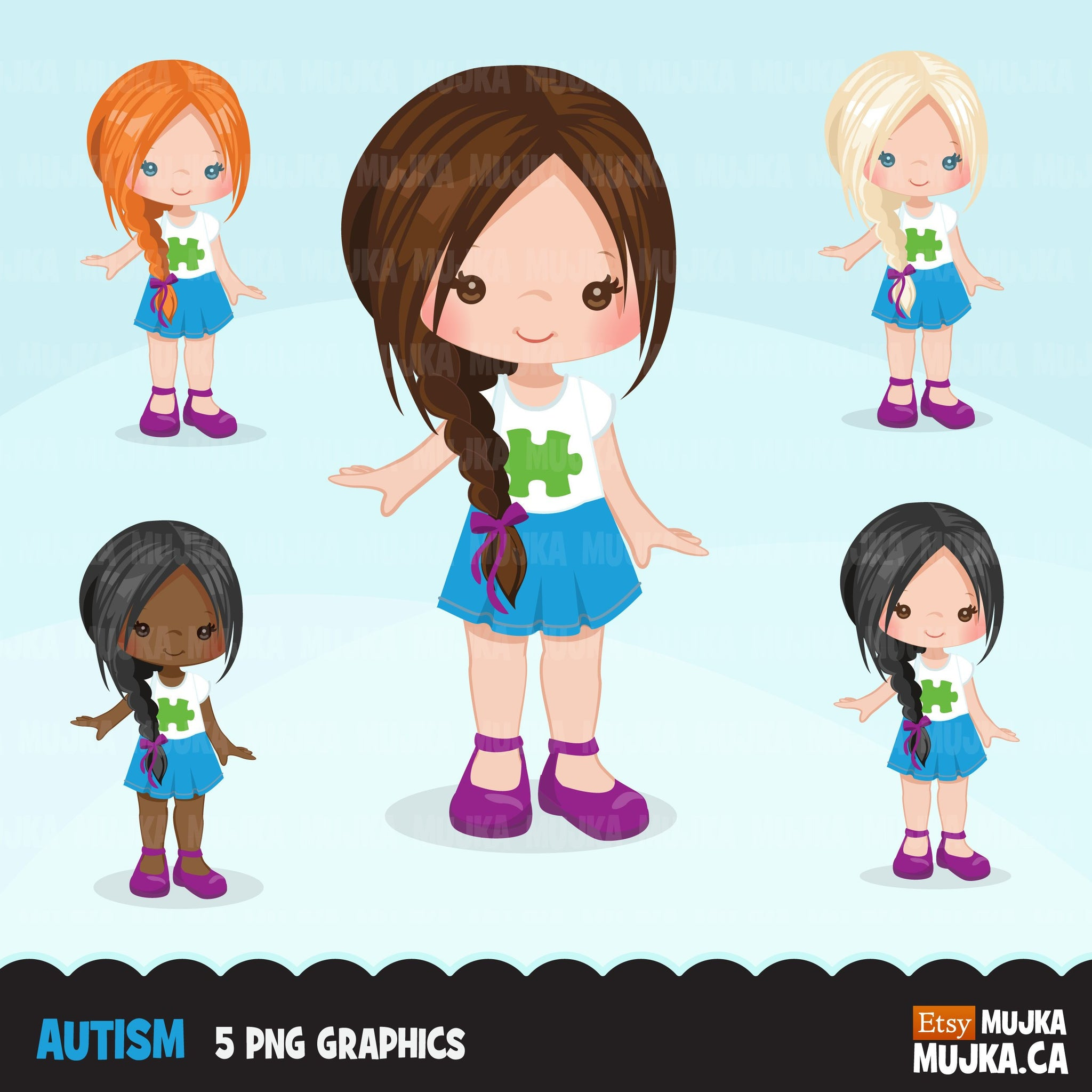 Autism Clipart, girl with autism