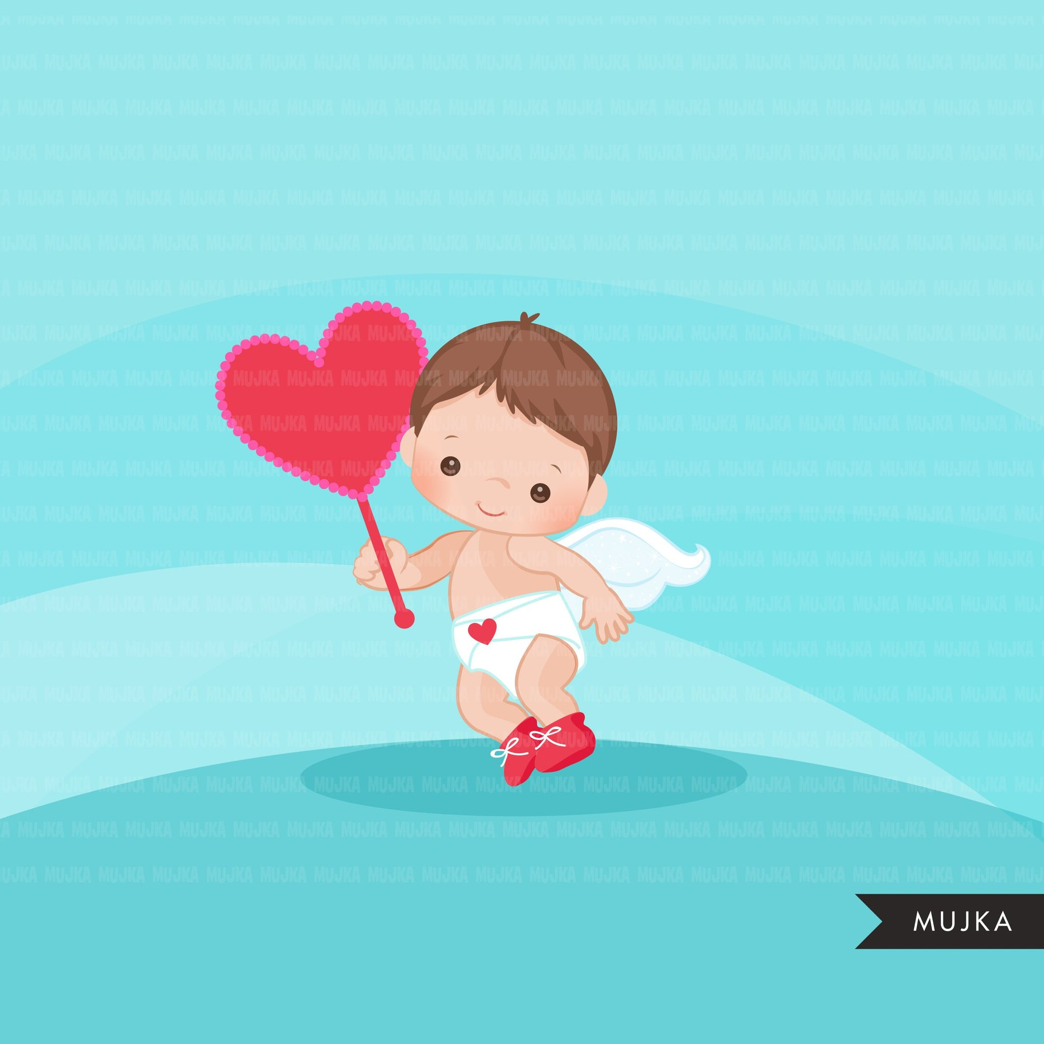 Valentine's Day Baby Cupids clipart with heart