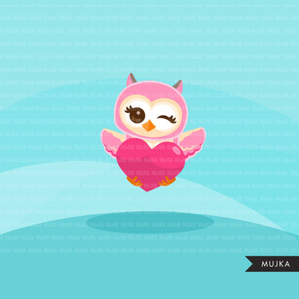 Valentine Day Owls Clipart