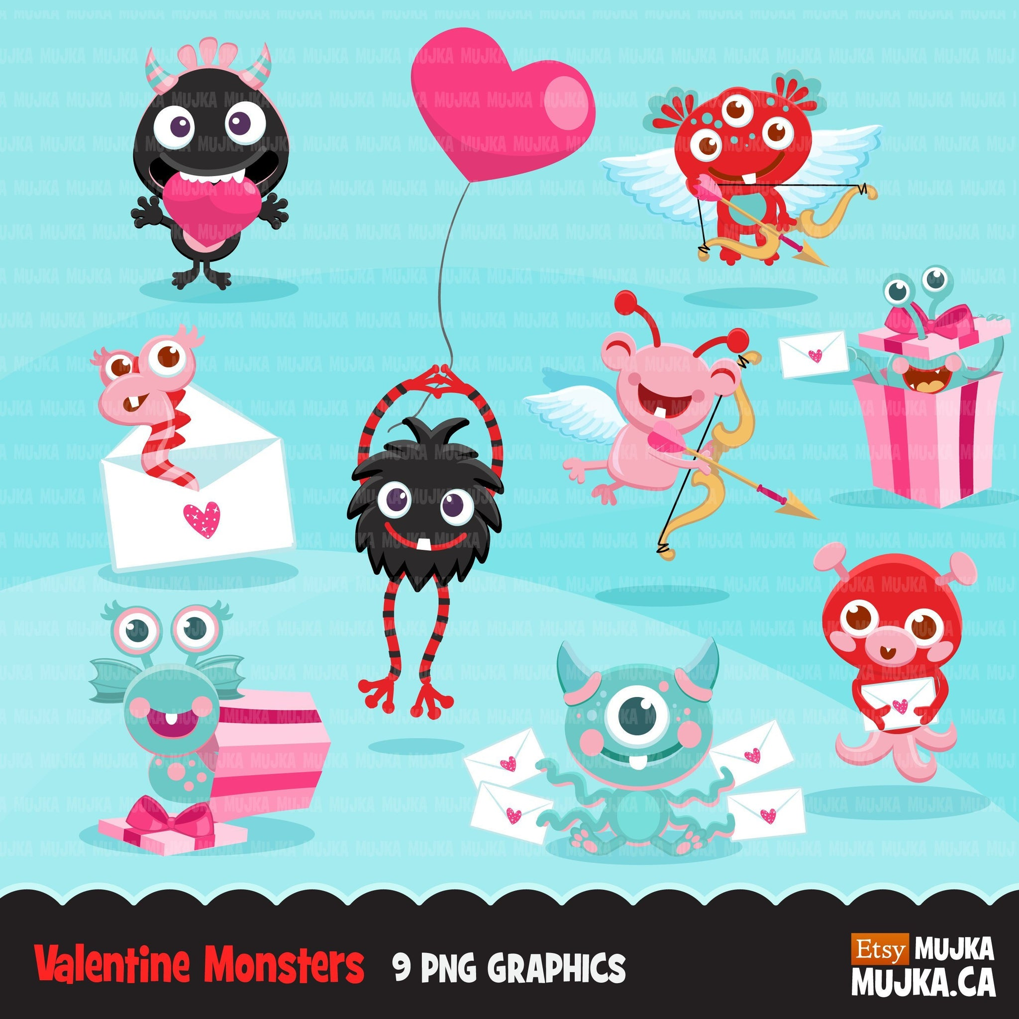 Valentines Day Monsters Clipart
