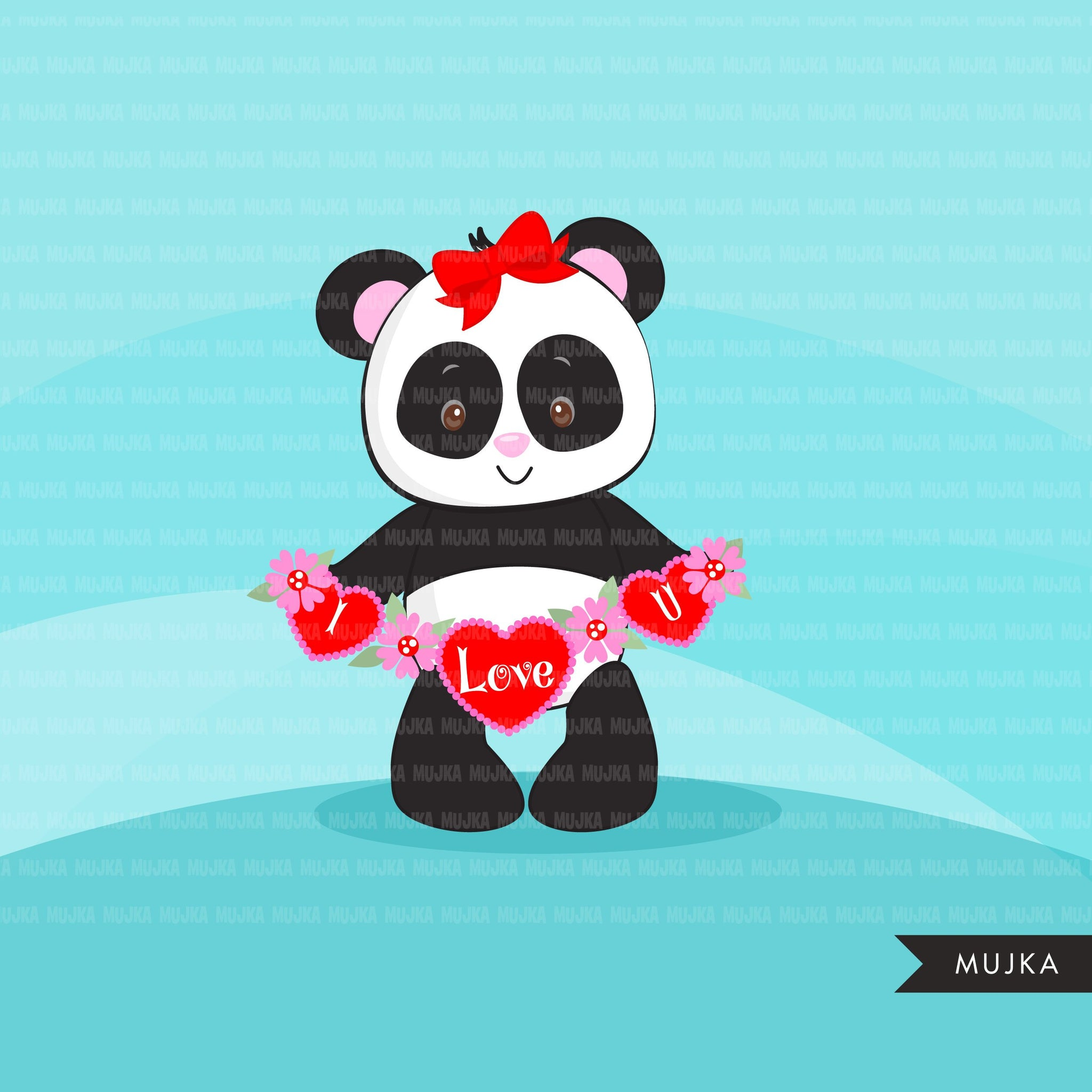 Valentine's Day Panda Animal clipart