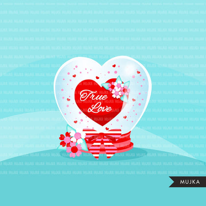 Valentines Day Heart Globe Clipart