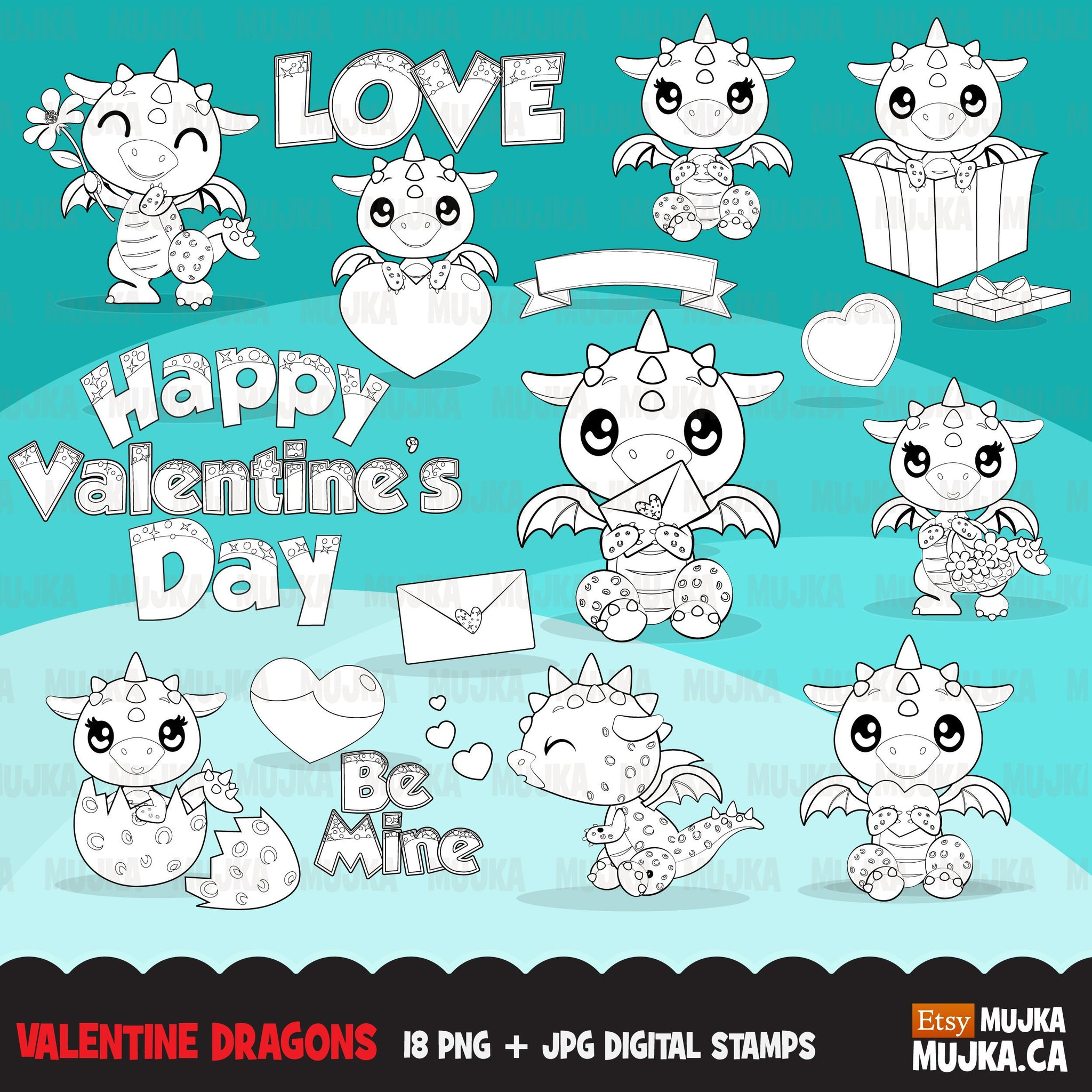 Valentine dragons Digital Stamps, animal, valentines day