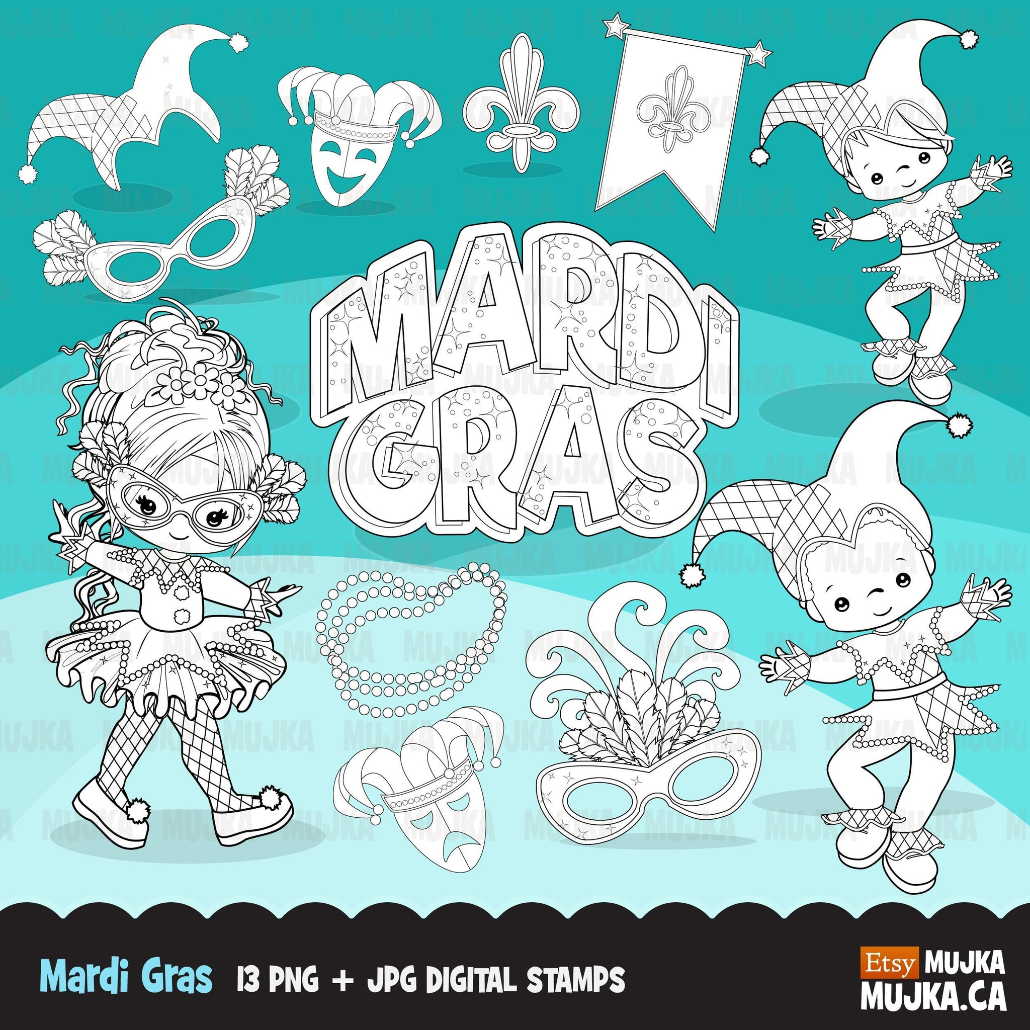 Mardi gras digital stamps, girl and boy