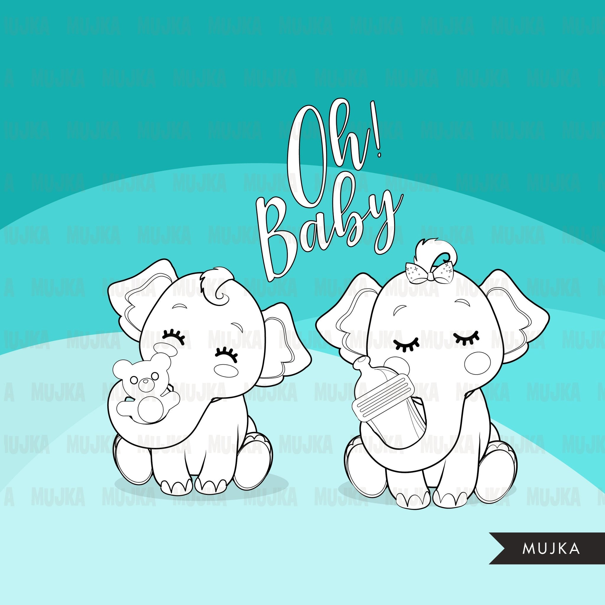Baby Shower elephant Digital stamps