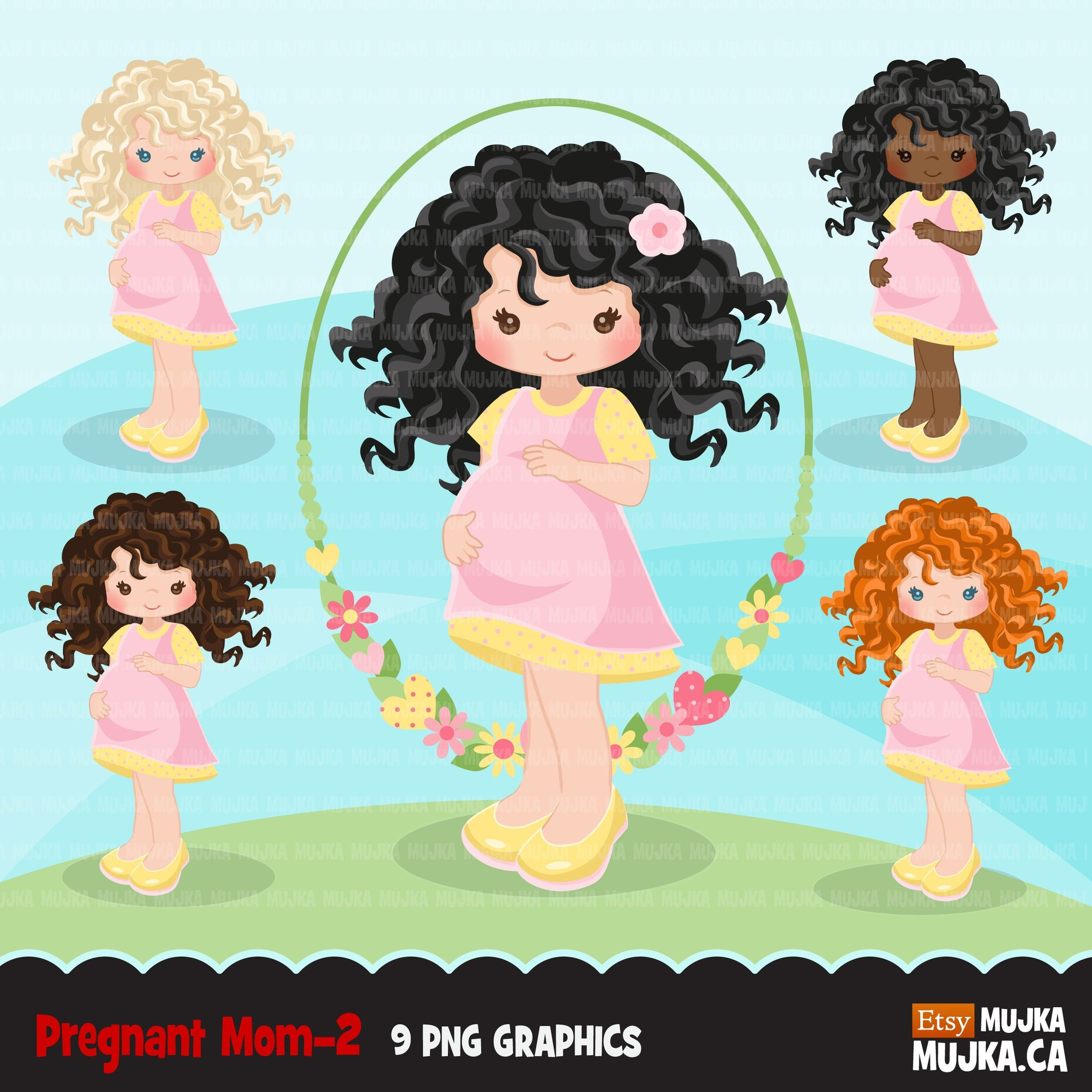 Pregnant girl clipart 2, mom to be