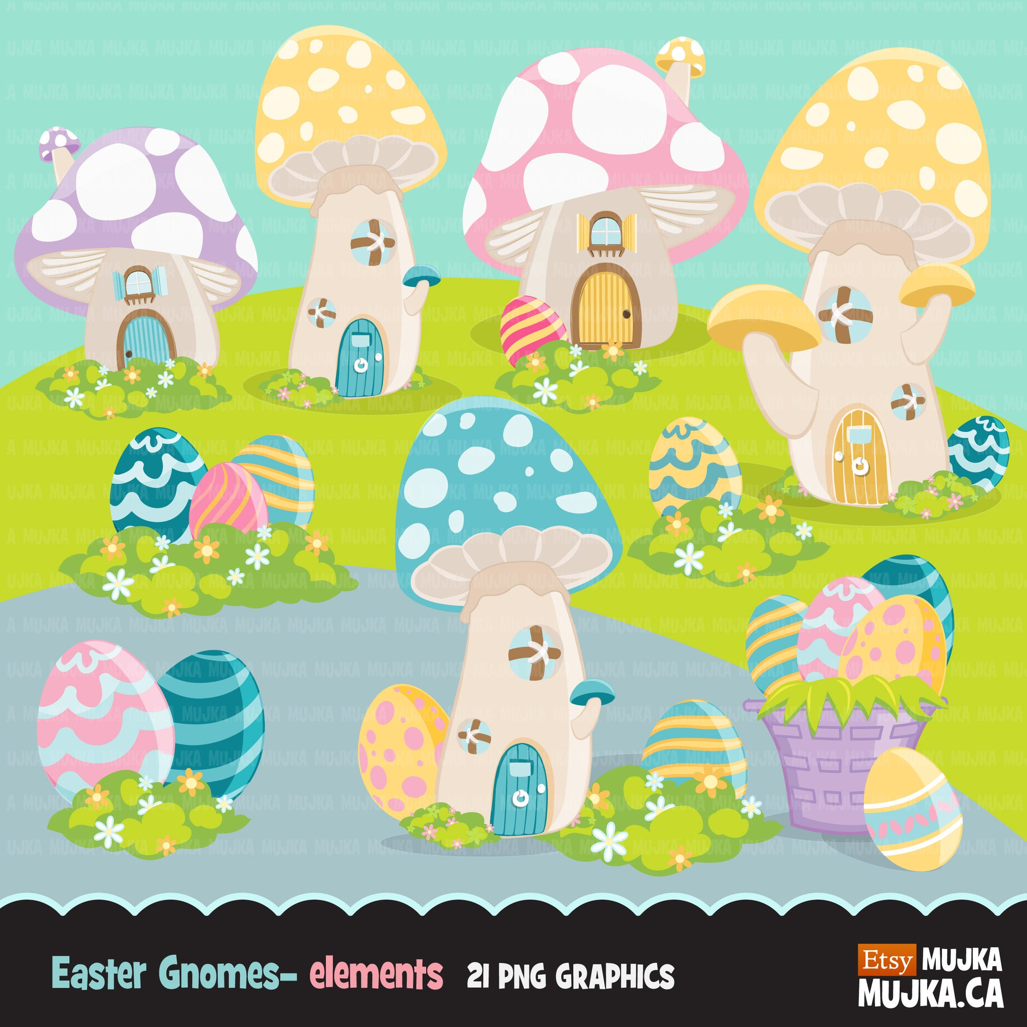 Easter gnome elements Clipart