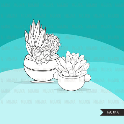 free Succulent Digital Stamps