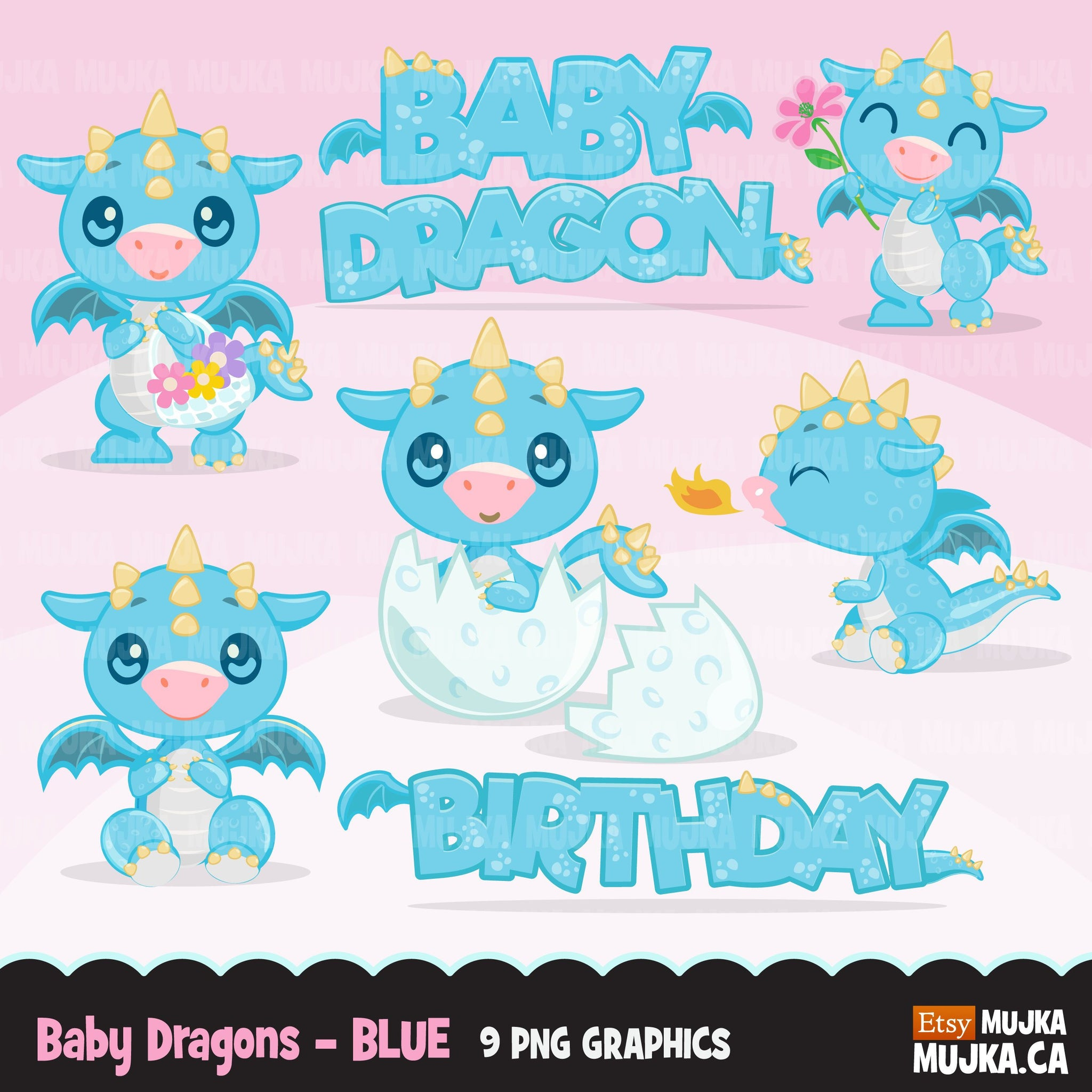 Baby Dragon clipart- blue animal