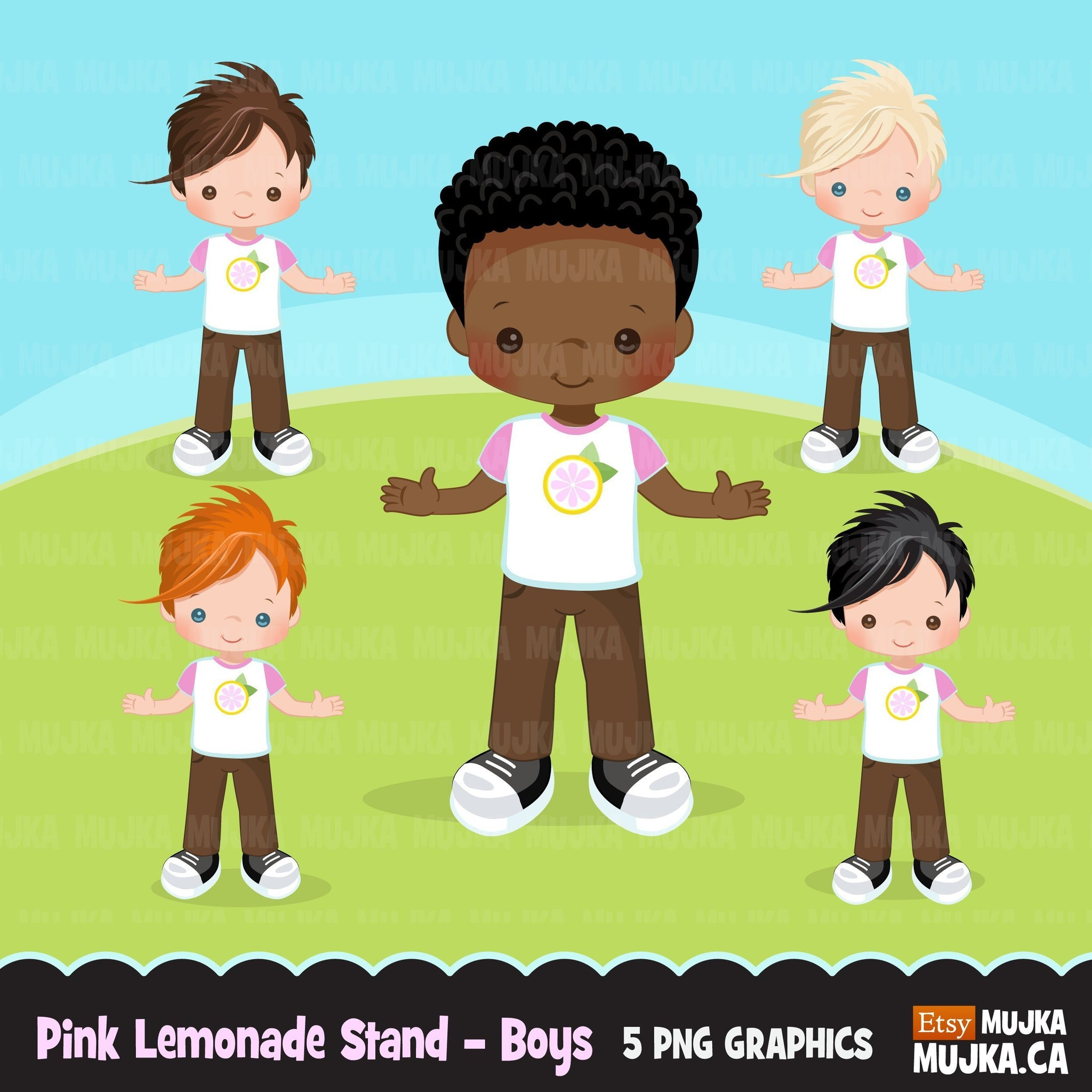 Pink Lemonade Stand Boys clipart, summer