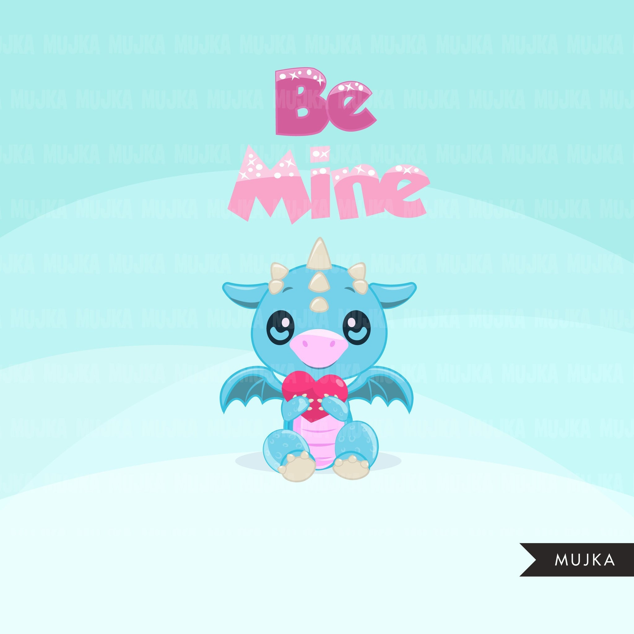 Valentine's Day Baby Dragon, animal clipart
