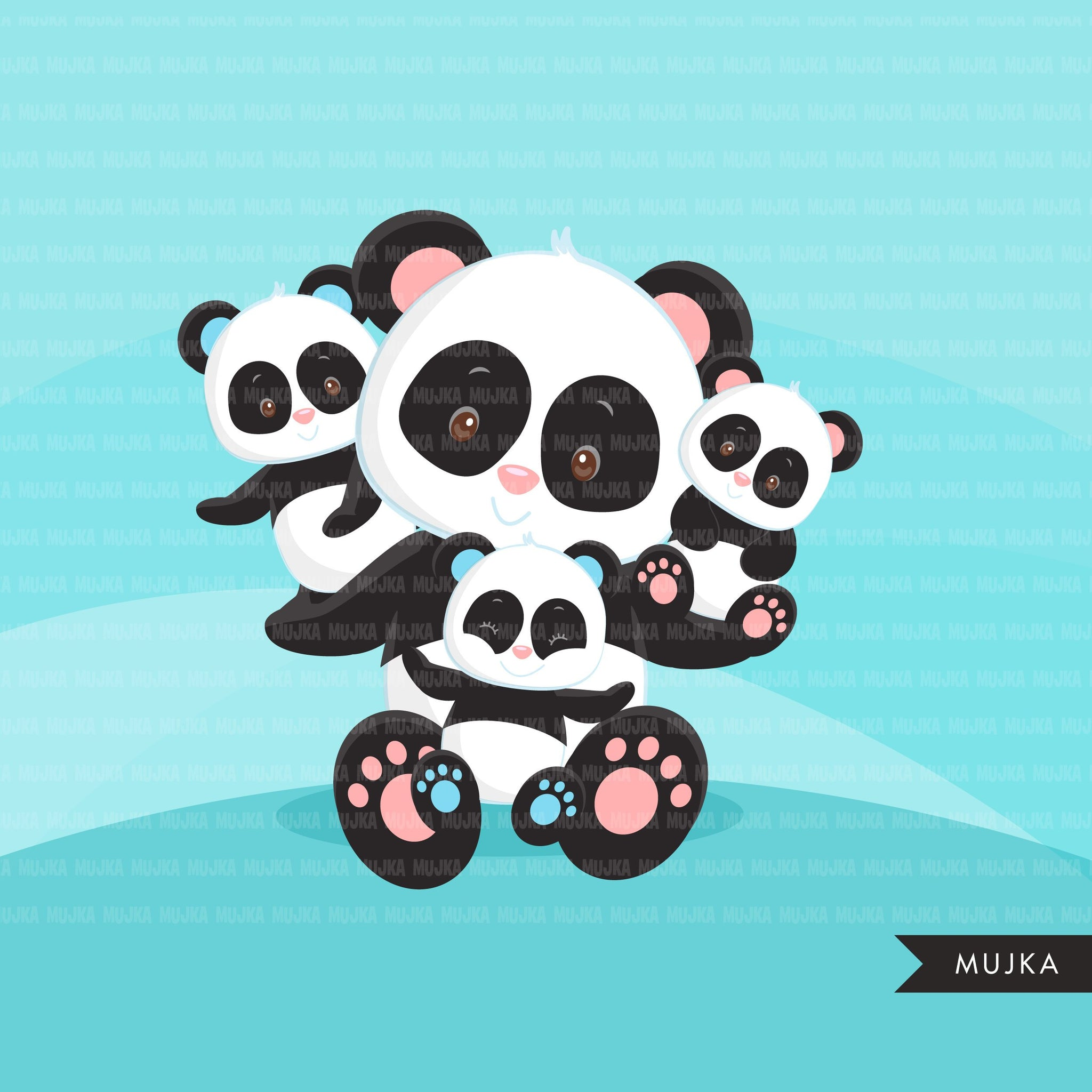 Baby Panda Clipart. Cute Panda, animal graphics