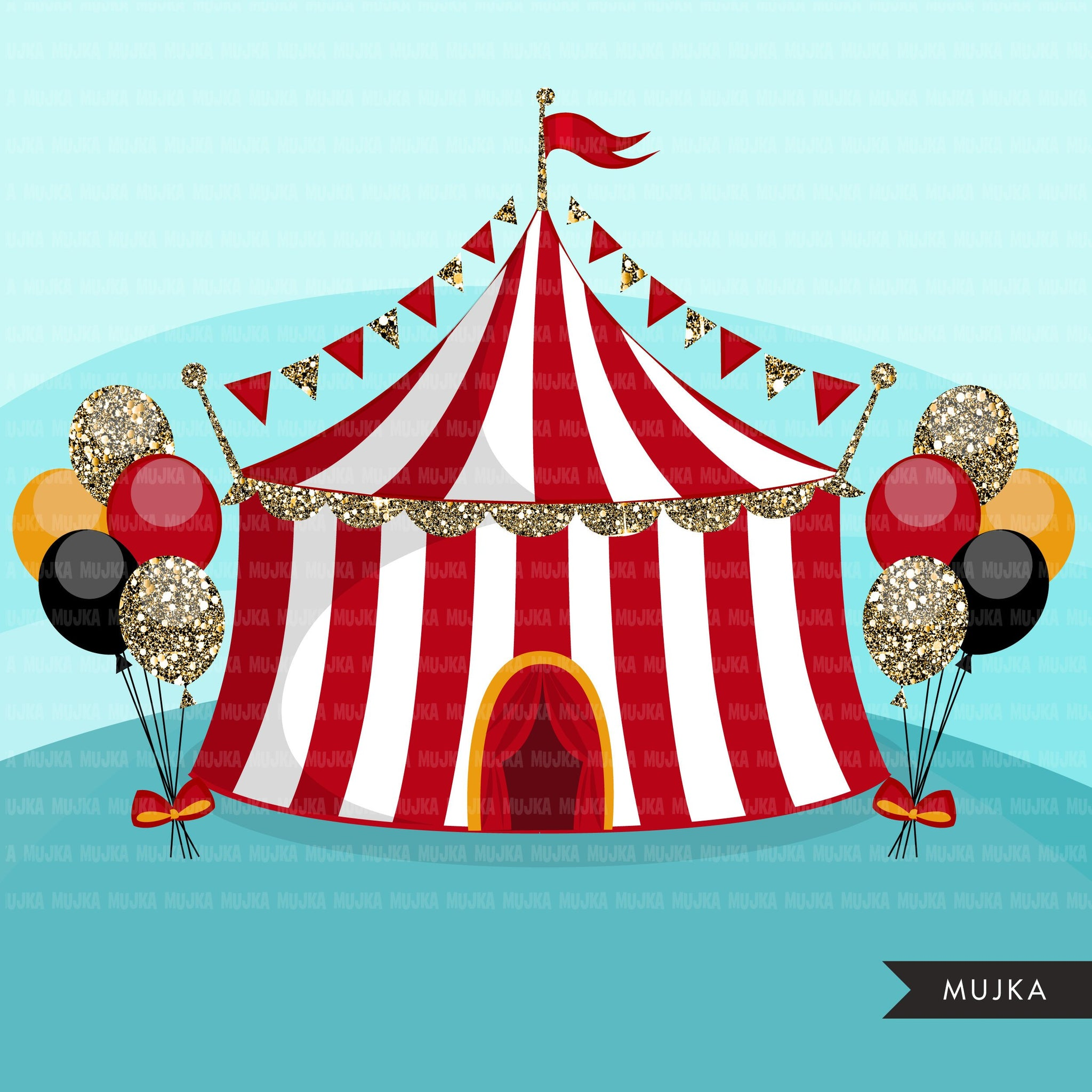 Glitter Circus Clipart Big top, animal clip