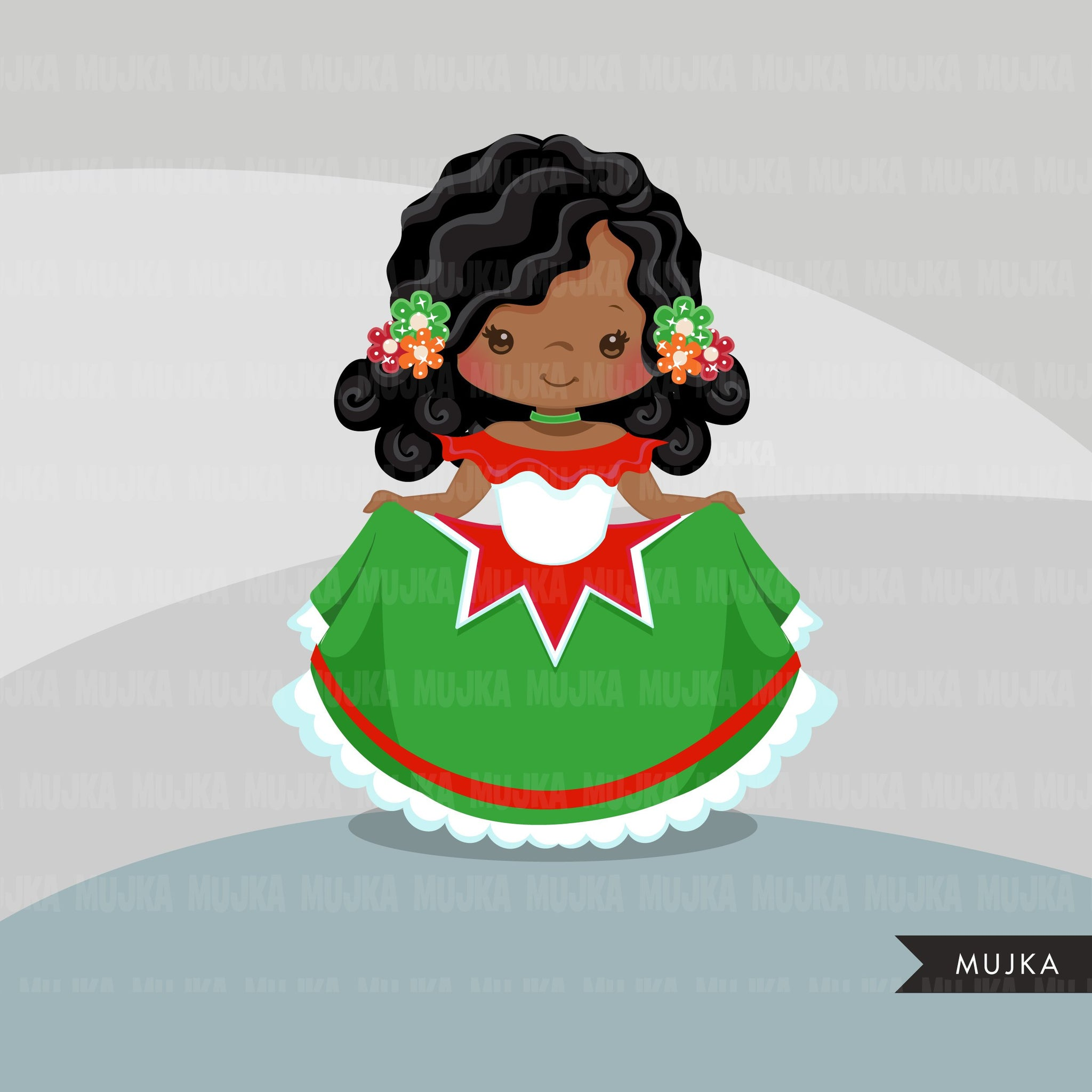 Cinco de Mayo clipart, girl folk dancers