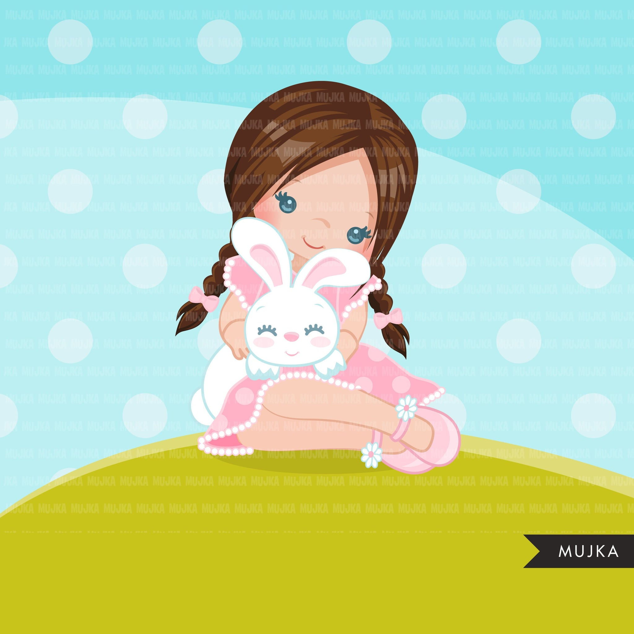 Easter girl with bunny Clipart