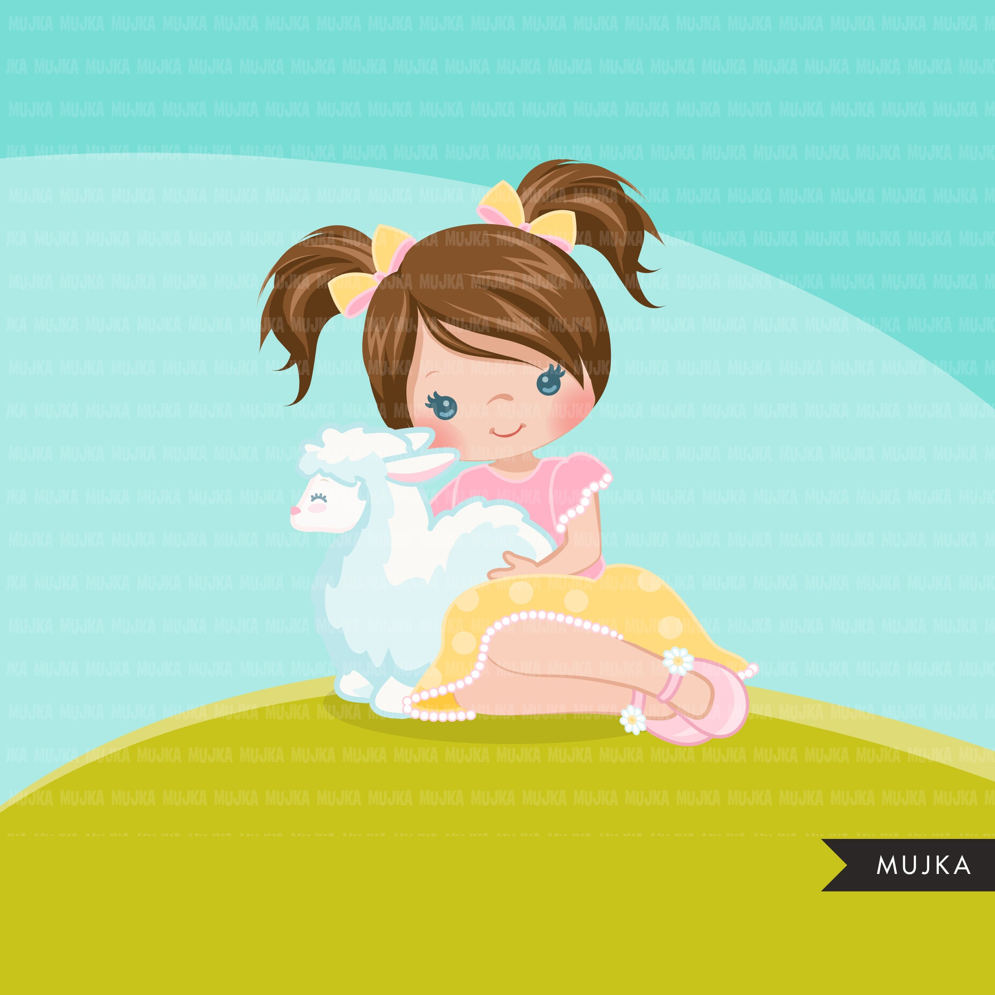 Easter girl with lamb Clipart