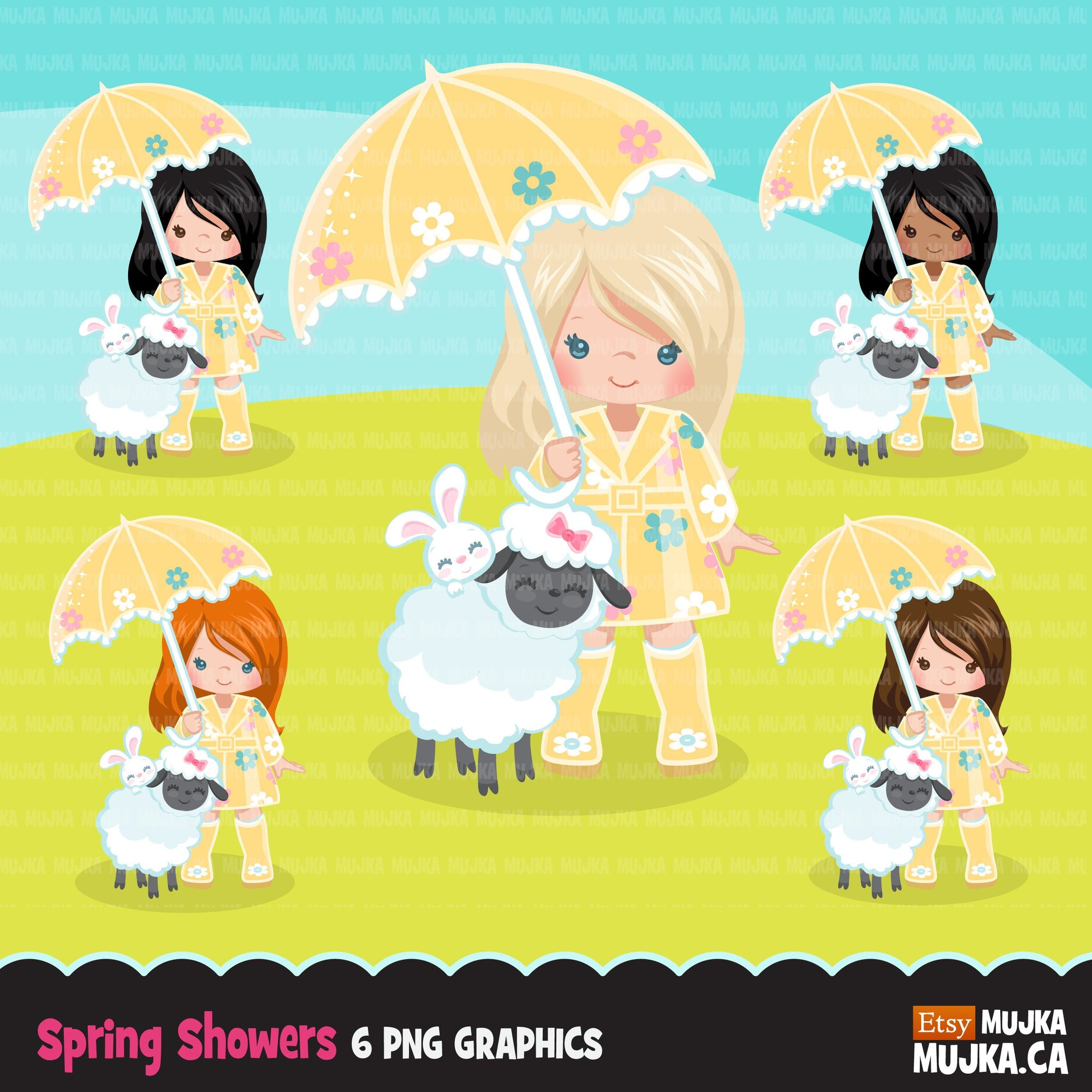 Spring girl with lamb and bunny Clipart