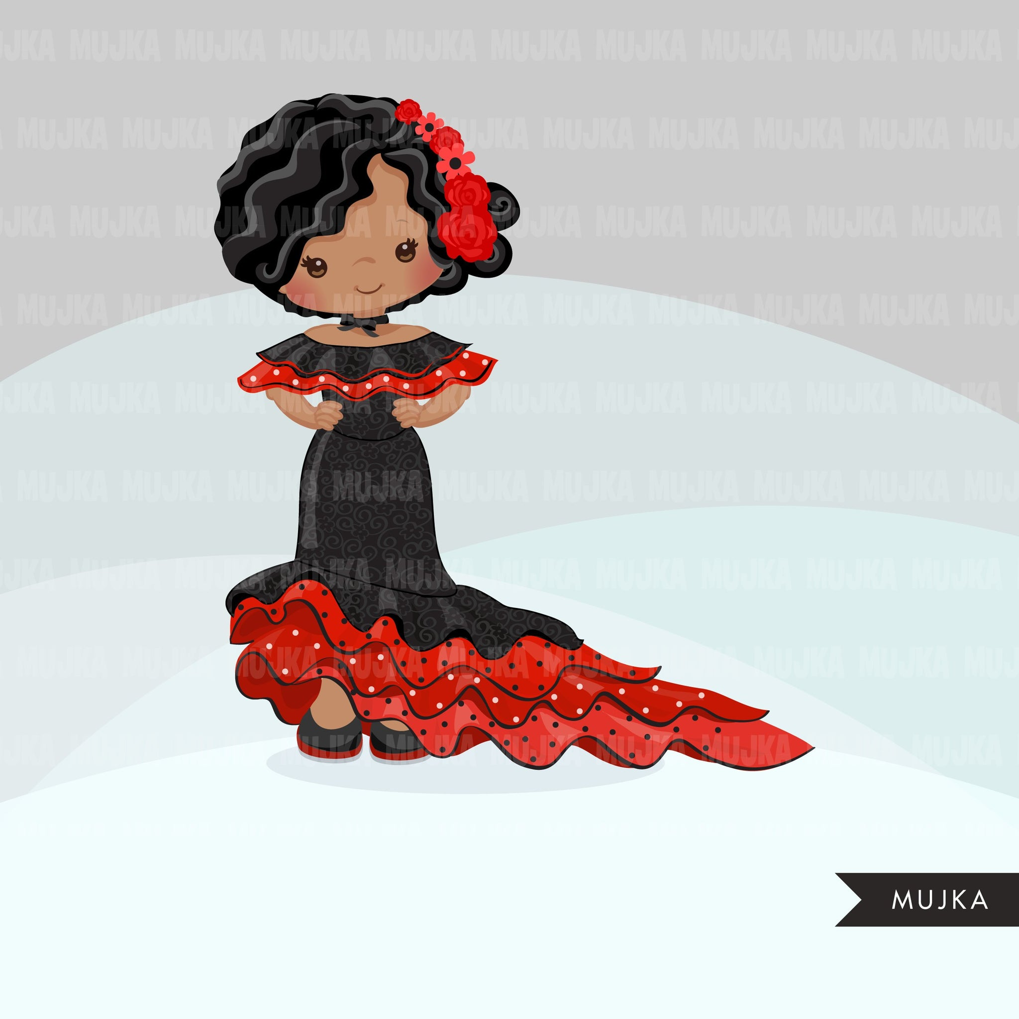 Flamenco clipart, girl dancers, version 1