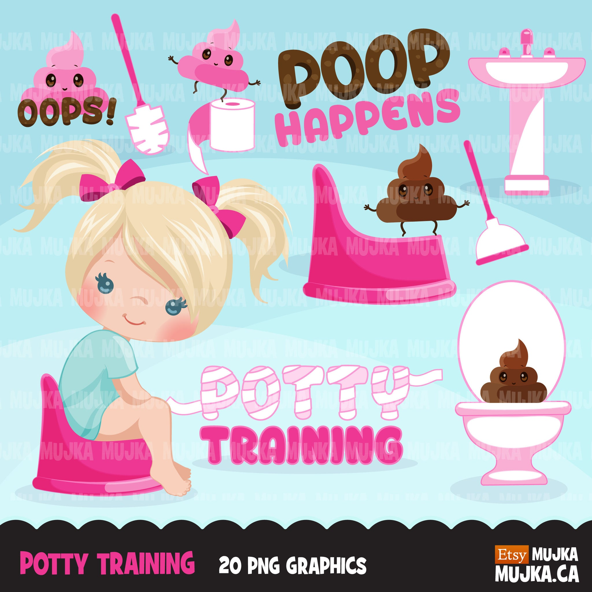 Potty Training Clipart for Girls
