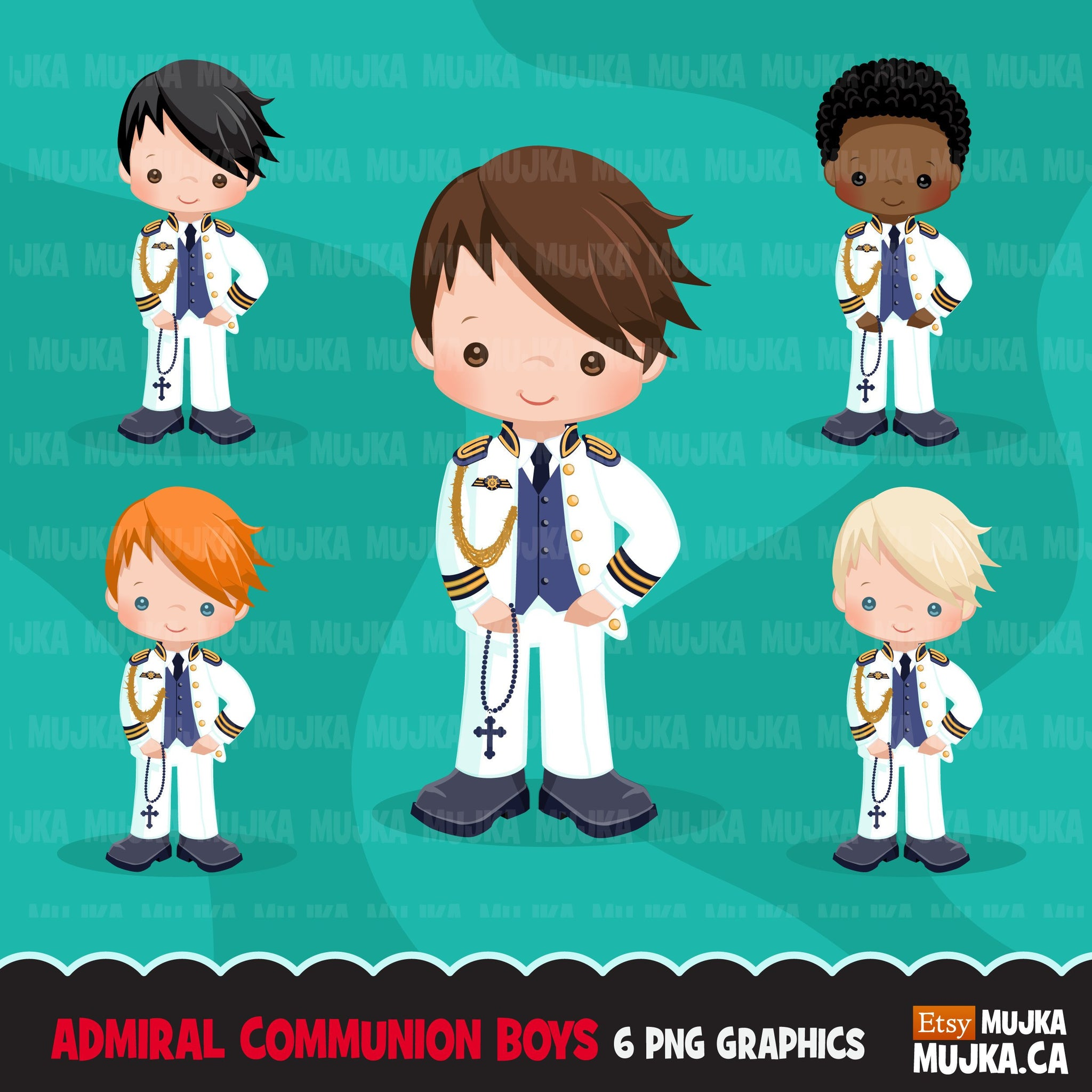 Spanish Admiral First Communion Clipart for Boy religious