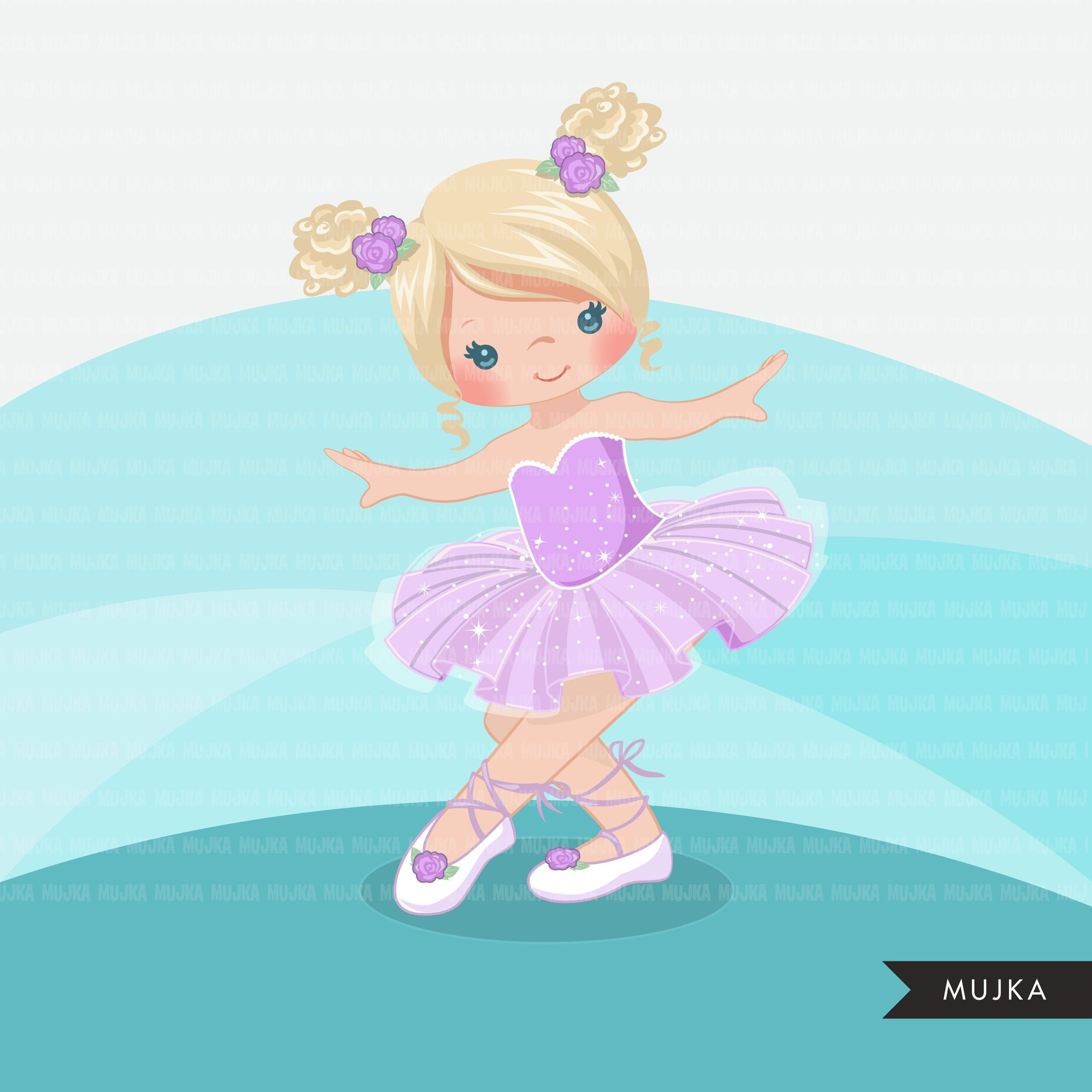 Girl Ballerina clipart. Purple ballerina graphics.
