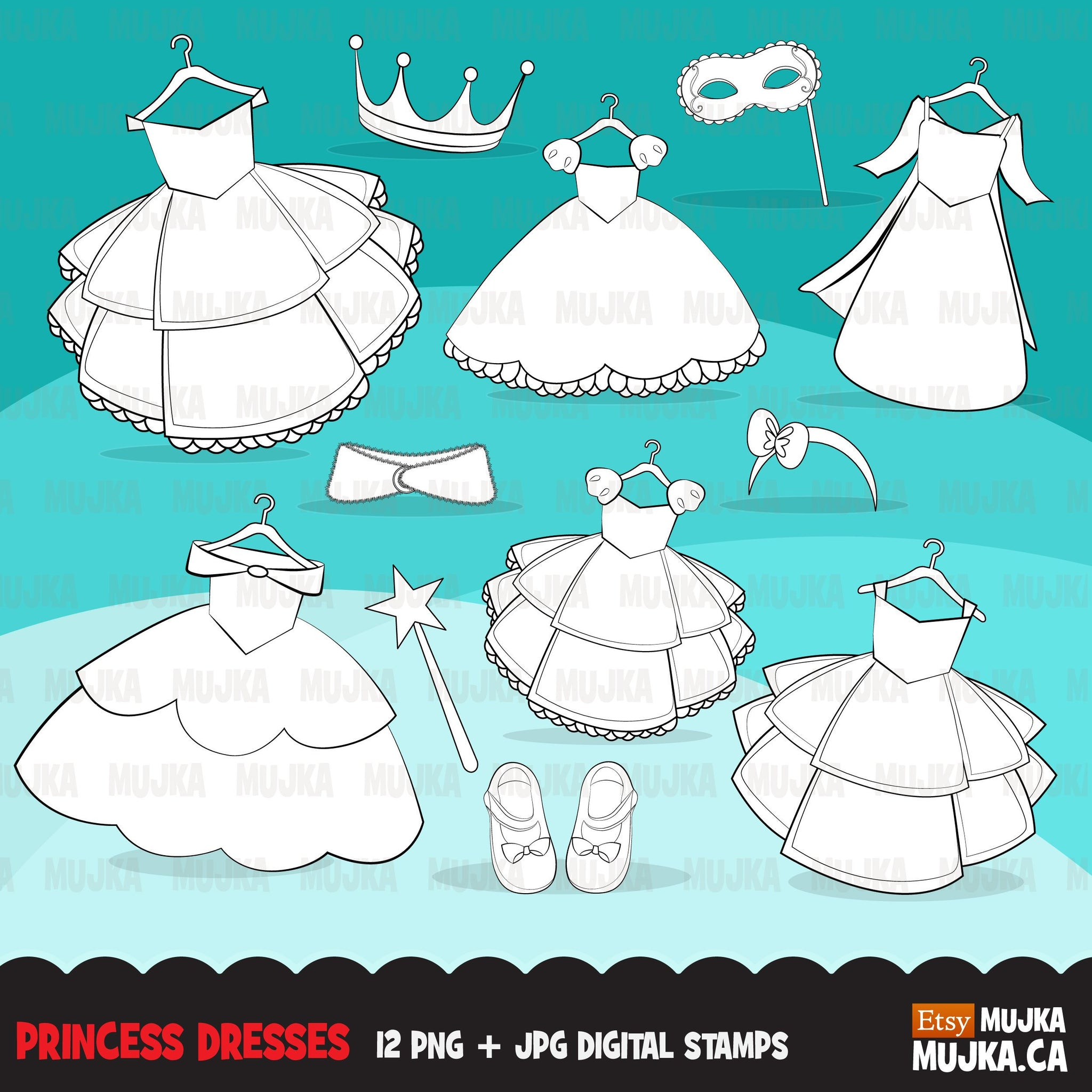 Princess Girl Dress Digital Stamps