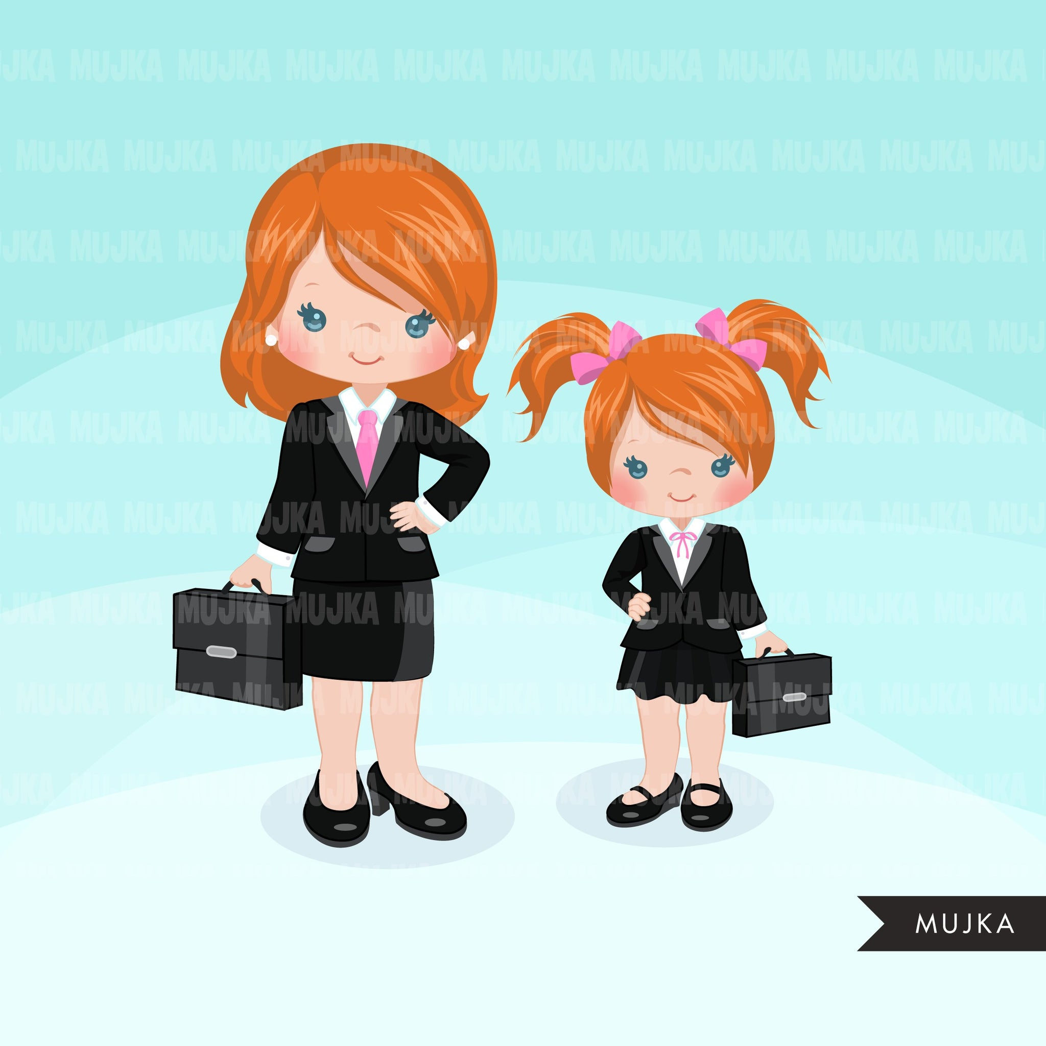 Girl boss little entrepreneur clipart