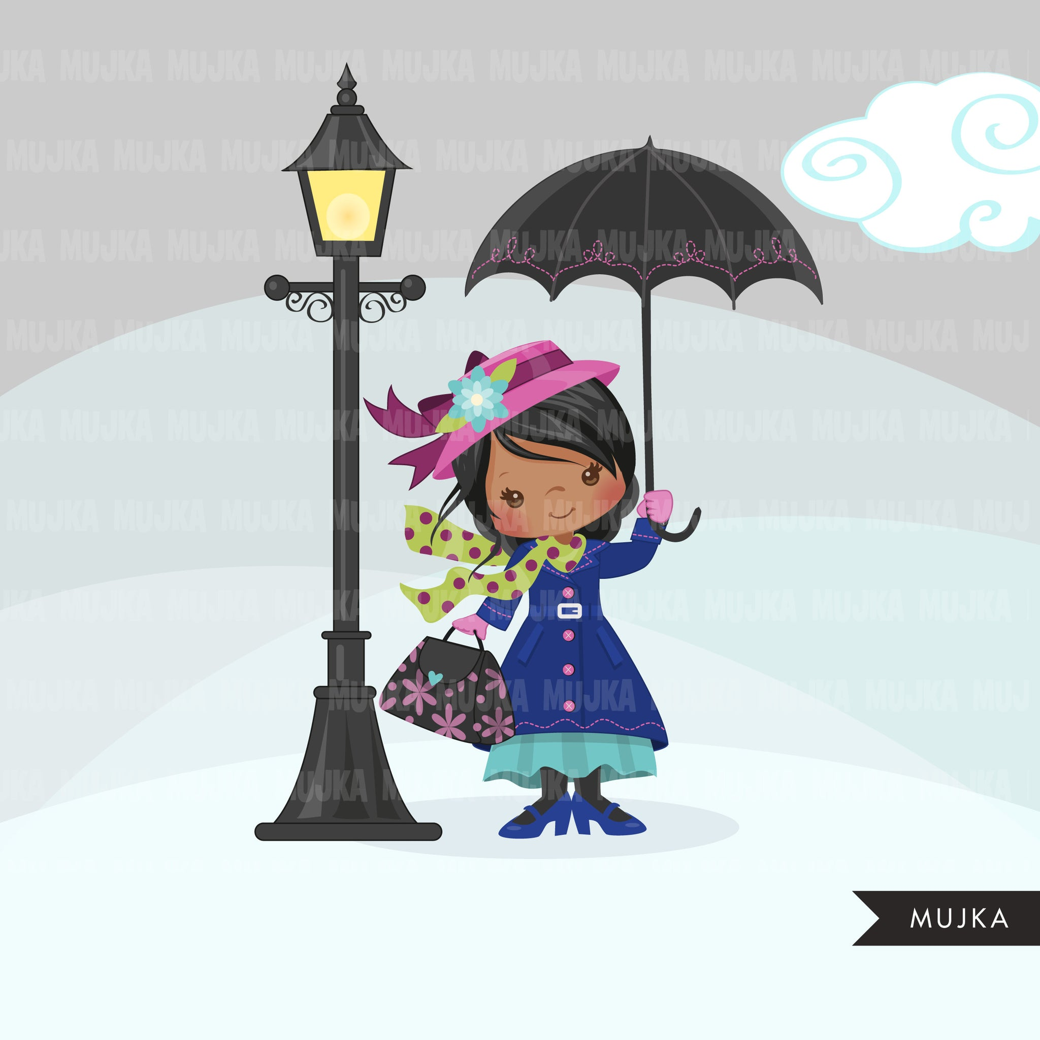Mary Poppins, girl clipart