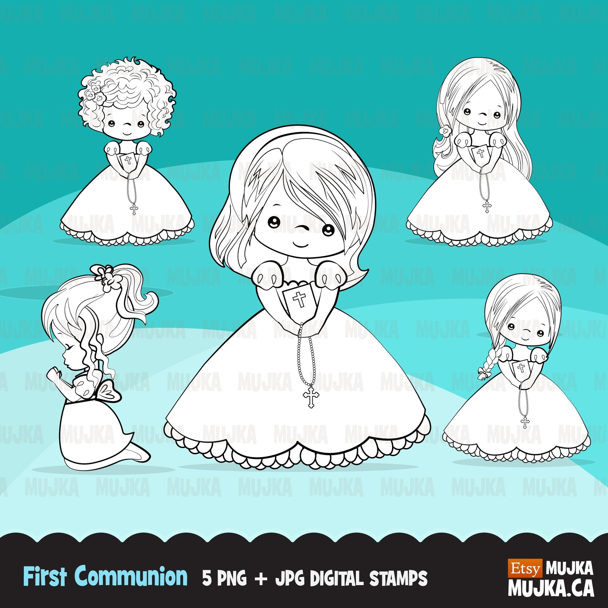 First Holy Communion, Girl Digital Stamps religious