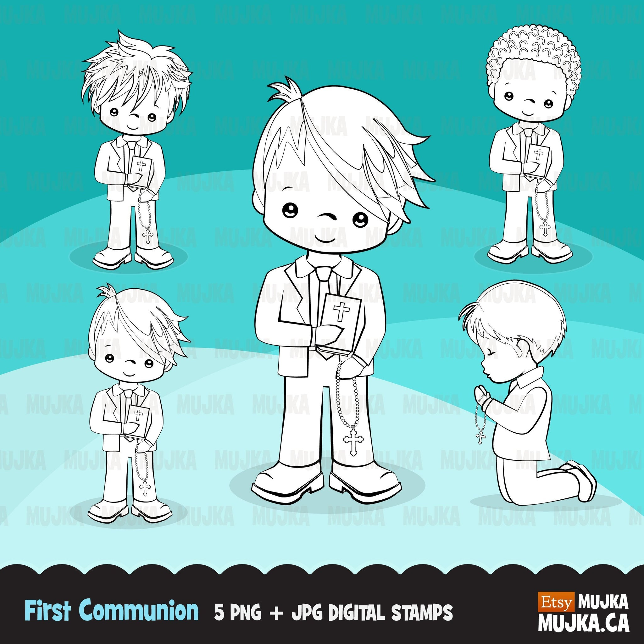 First Holy Communion, Boy Digital Stamps religious