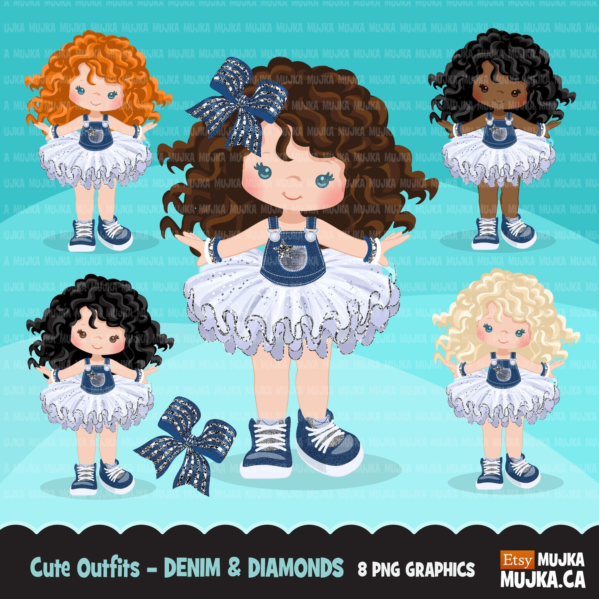 Denim and Diamonds Tutu Clipart. Little Girl with denim graphics.