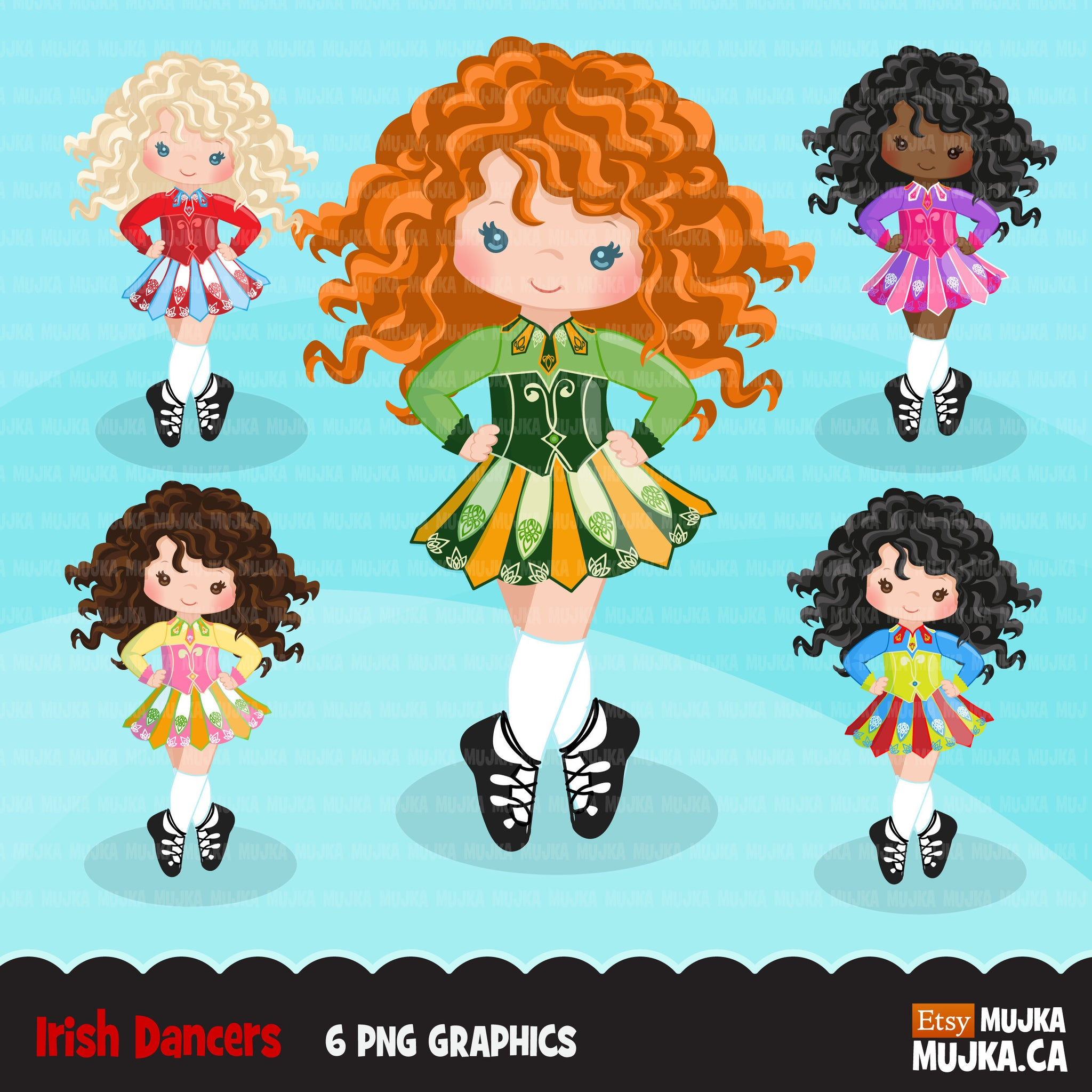 Irish dancers, girl clipart