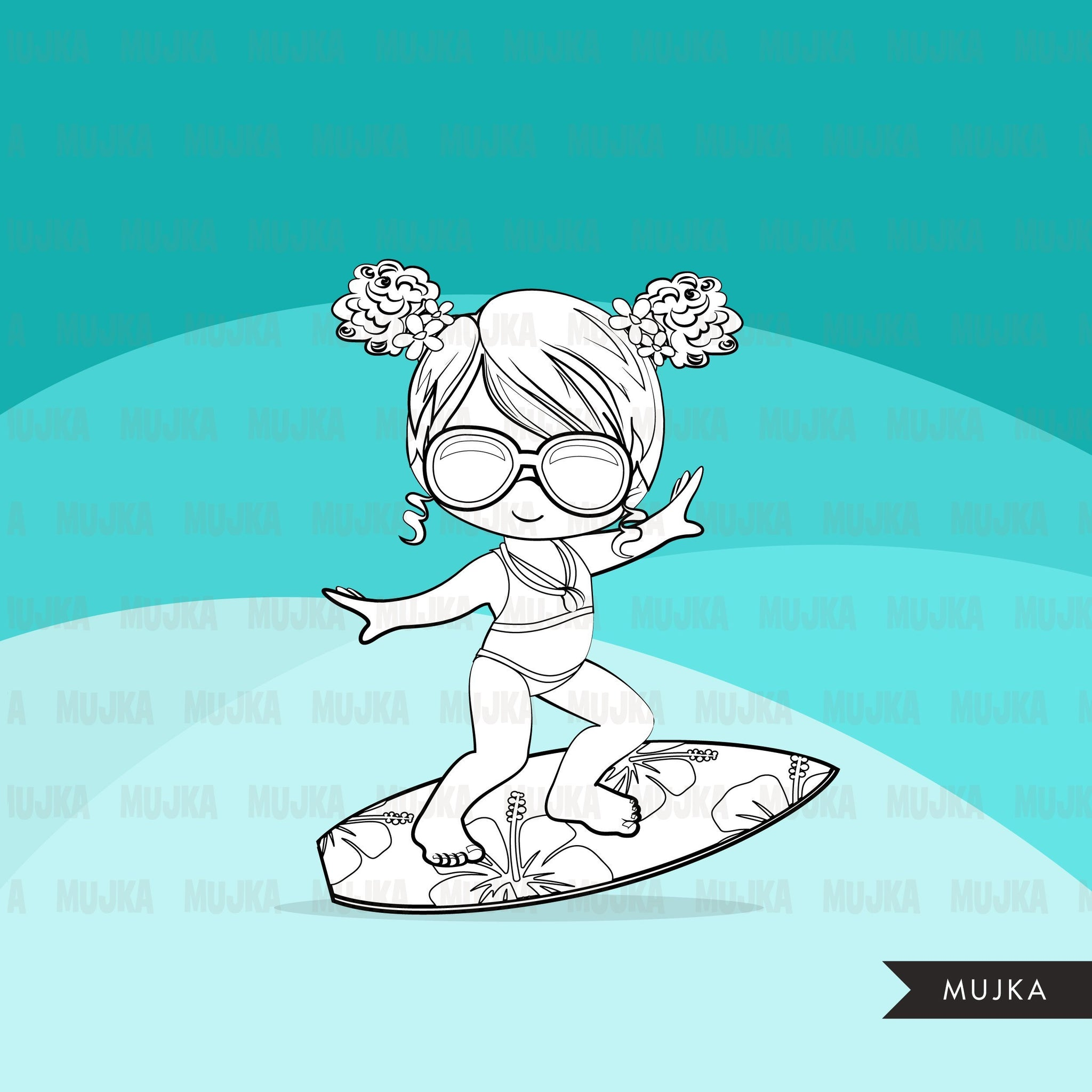 Surfer digital Stamps.  Beach birthday, girl and boy summer