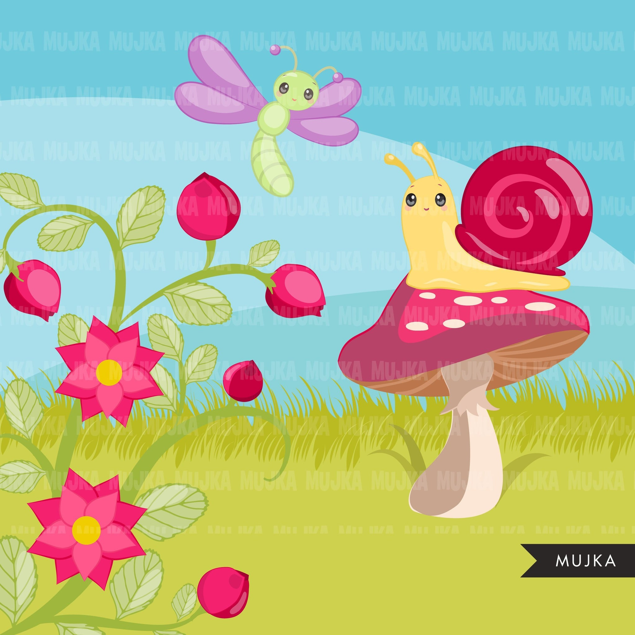 Spring bugs, animal clipart