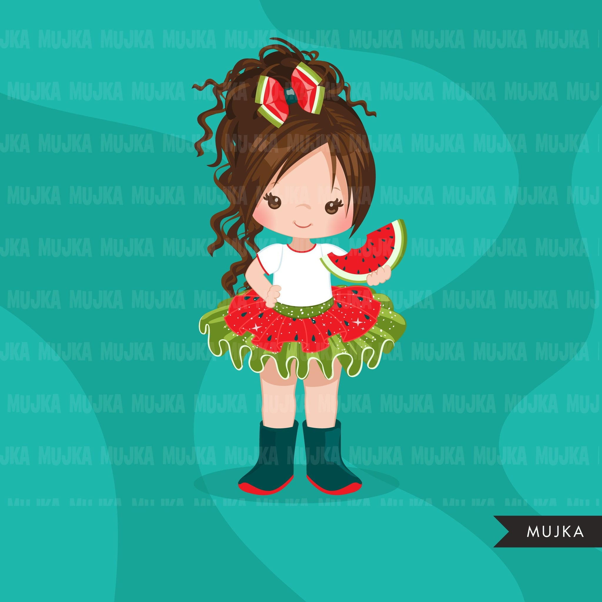 Watermelon Tutu Clipart. Little Girl outfits. 4th of July