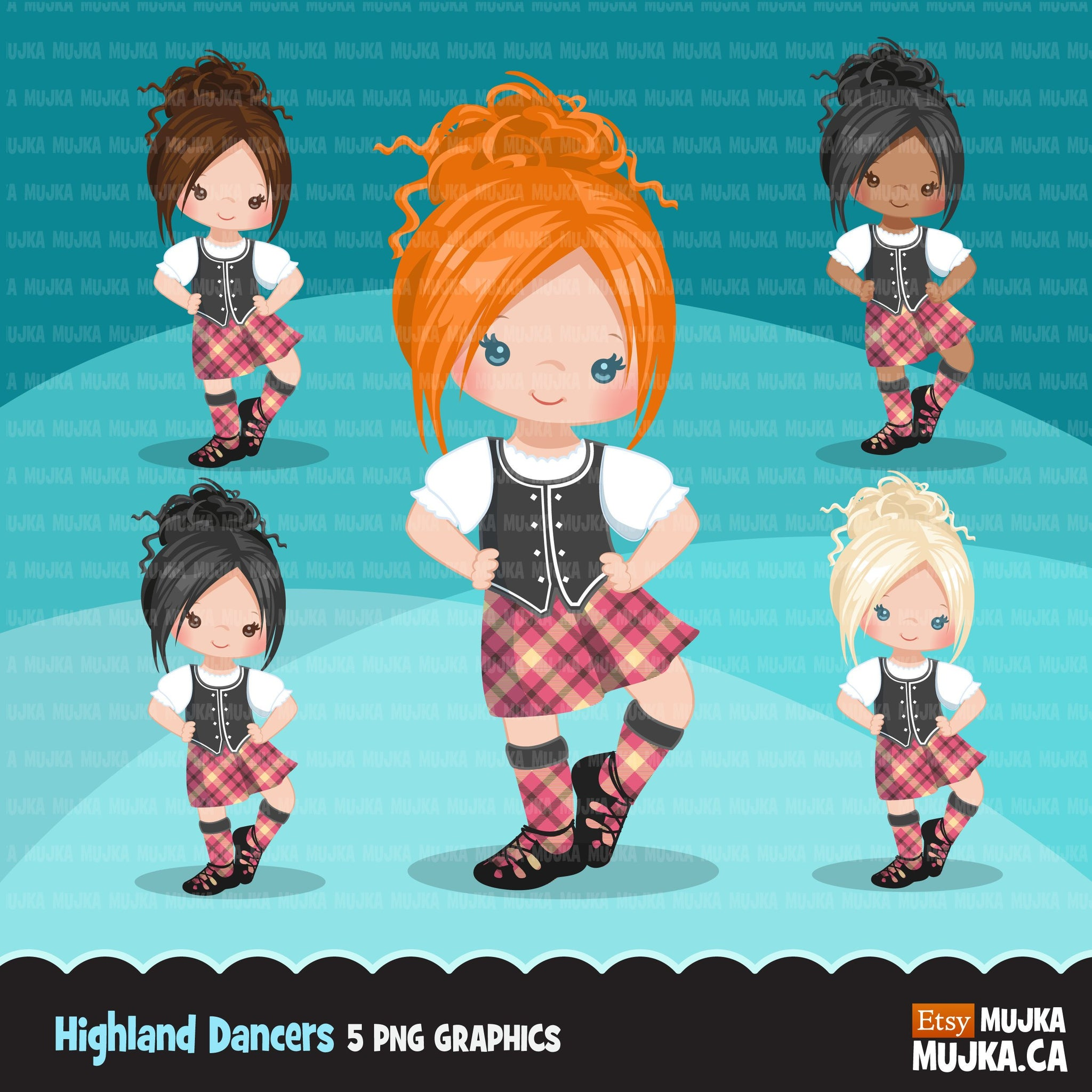 Highland dancers clipart, girl dancers in pink