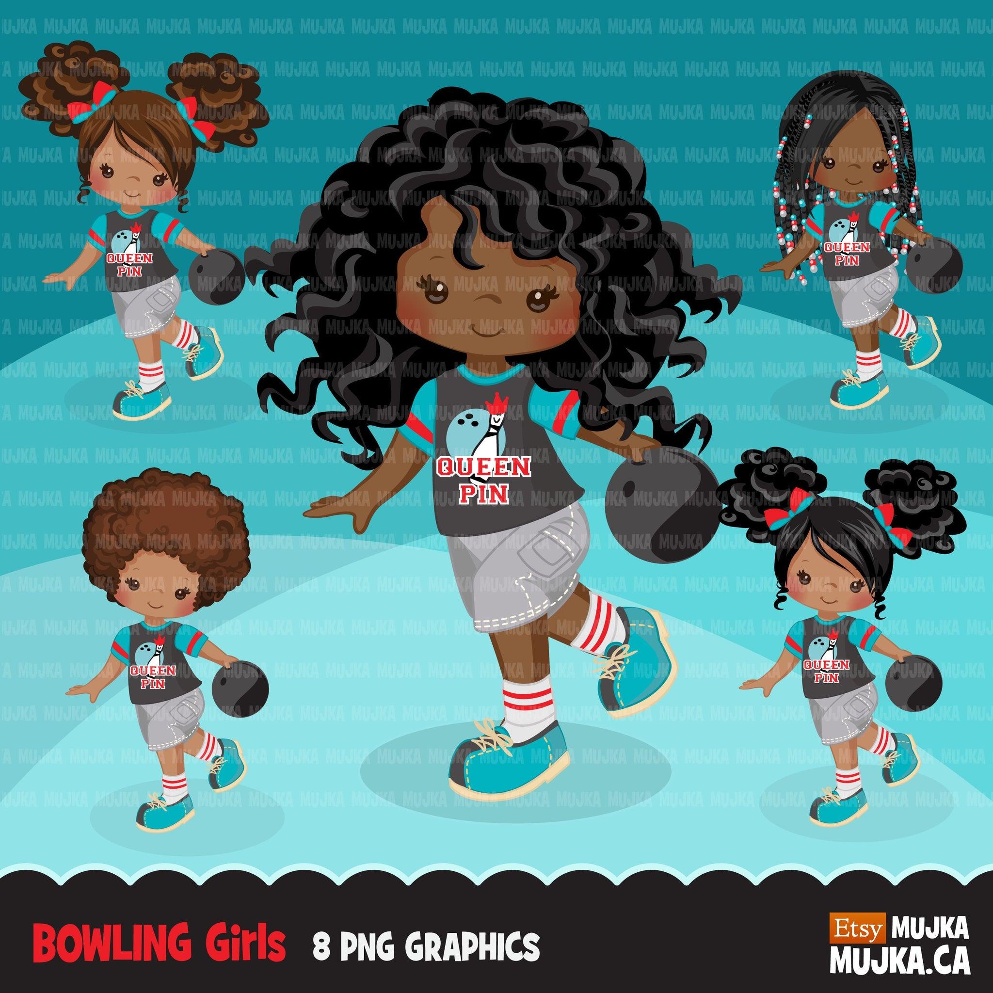 Bowling Girl Clipart