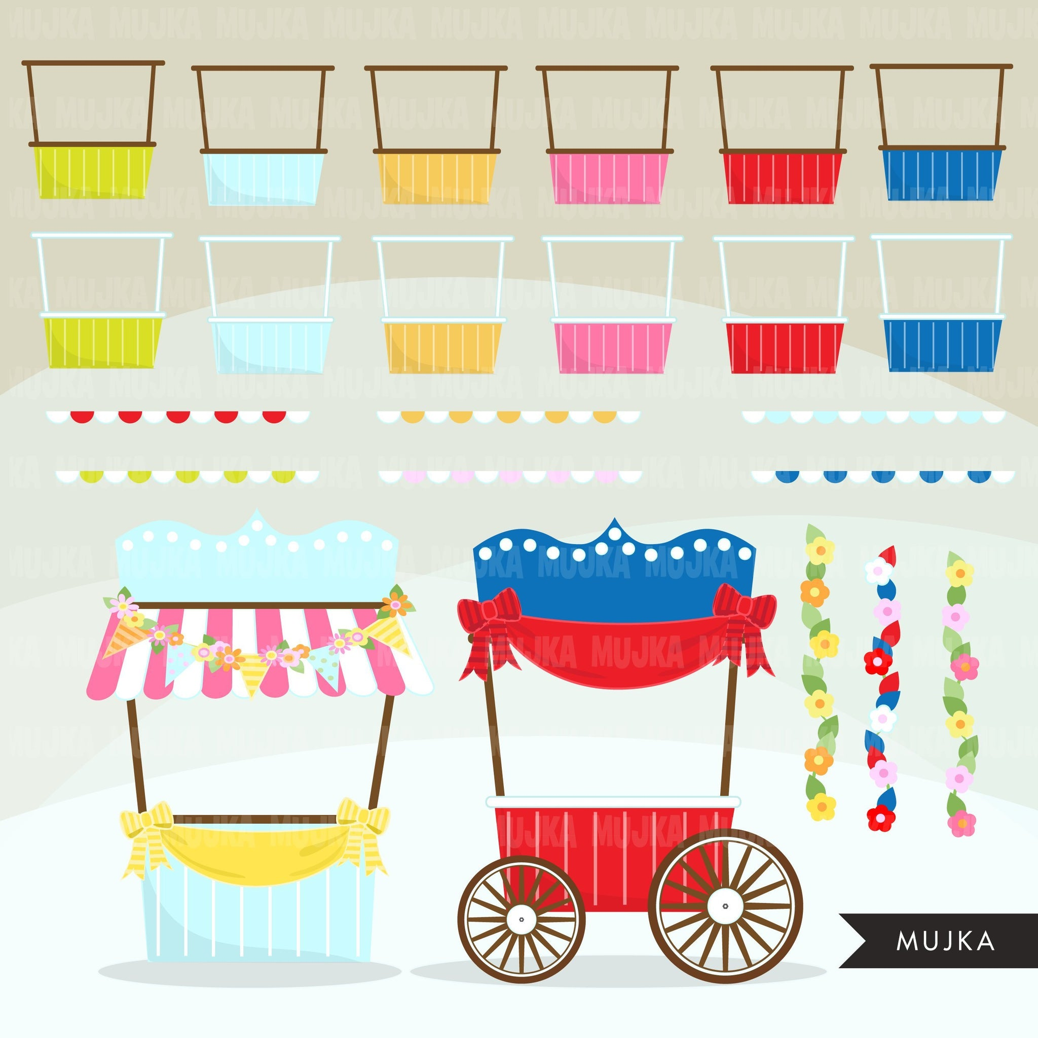 Event Stand Banner Creator Clipart summer, Create your own hotdog, popcorn, cupcake, lemonade, festival stand Graphics