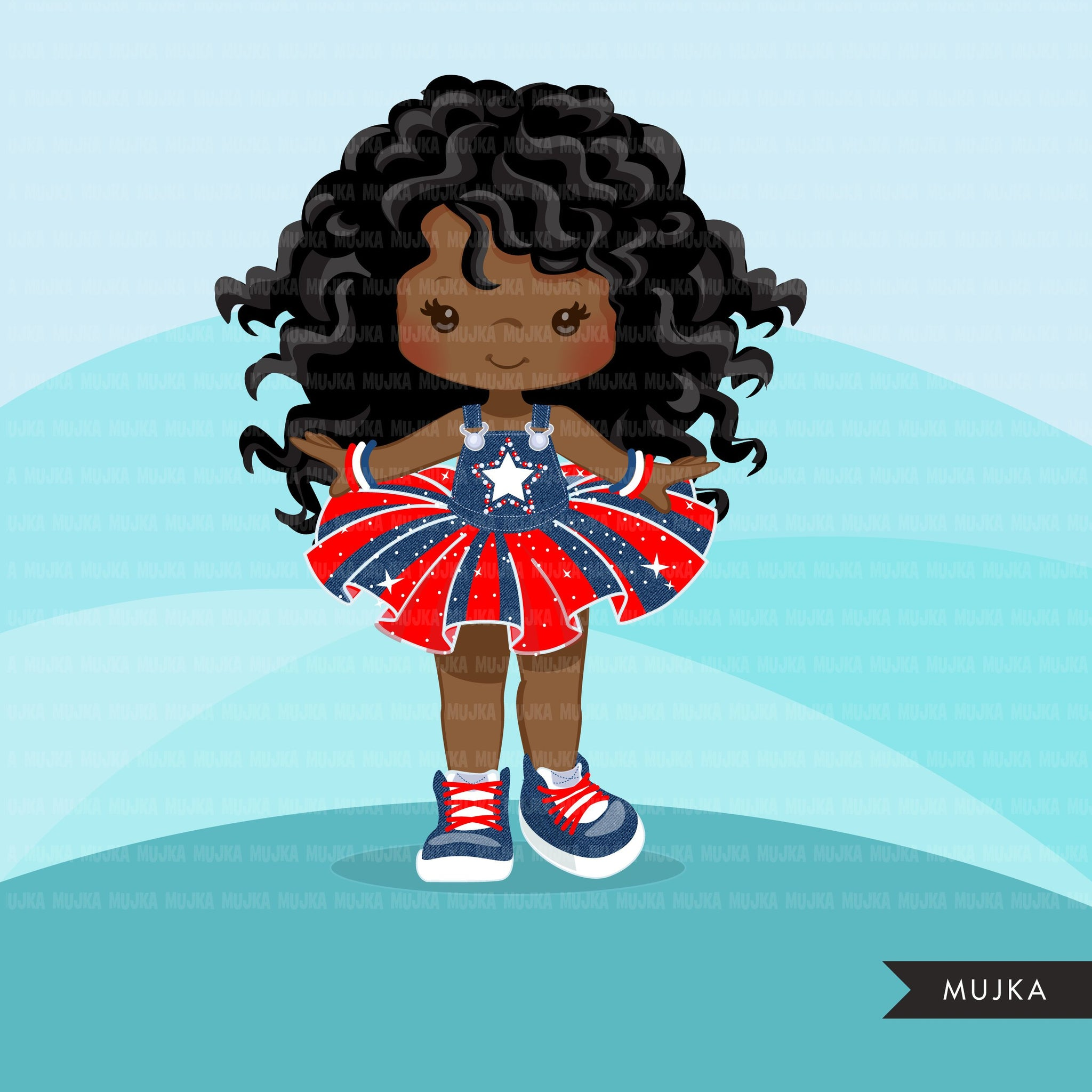 4th of July Tutu Clipart. Black girls with Independence day Tutu
