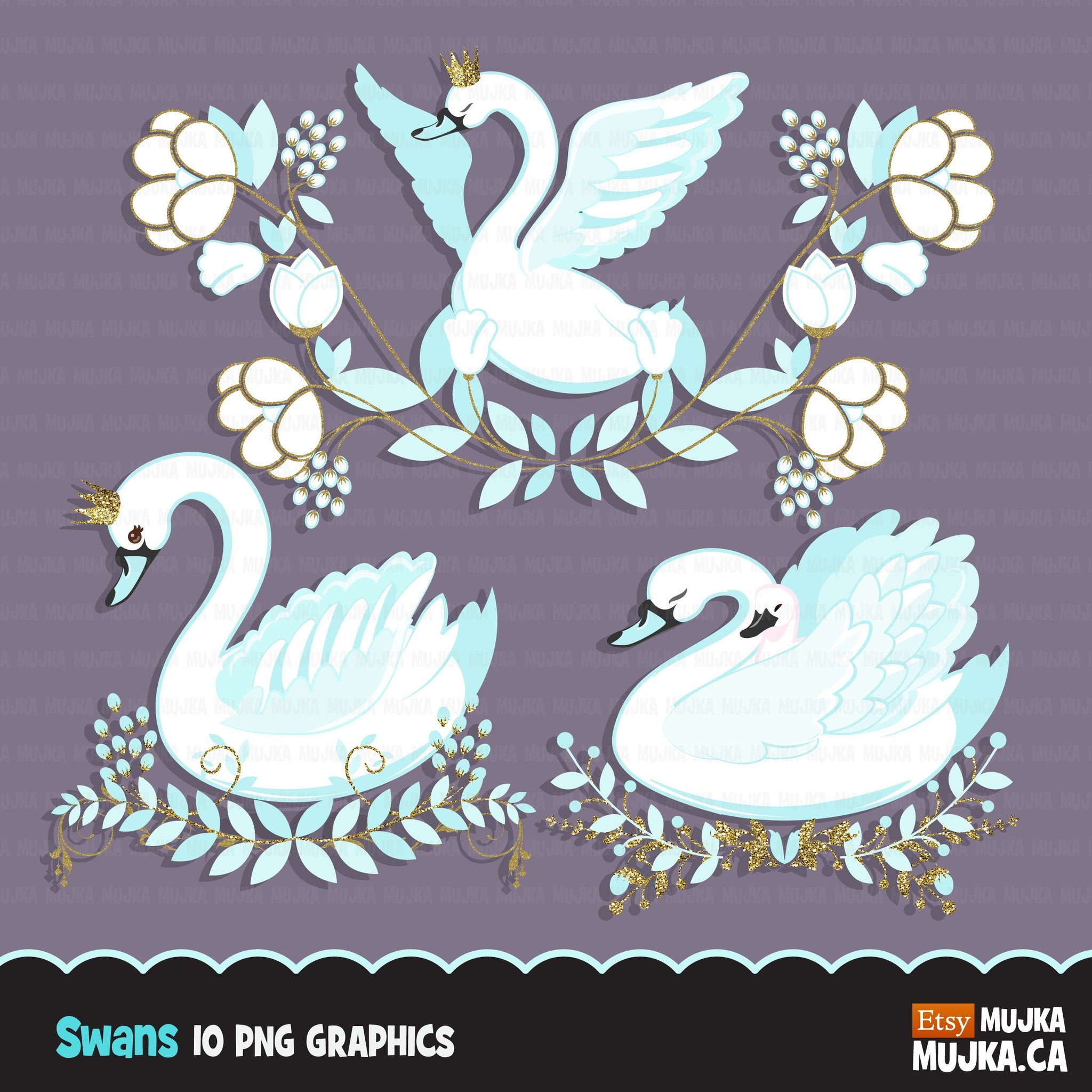 Swan clipart, Blue animal